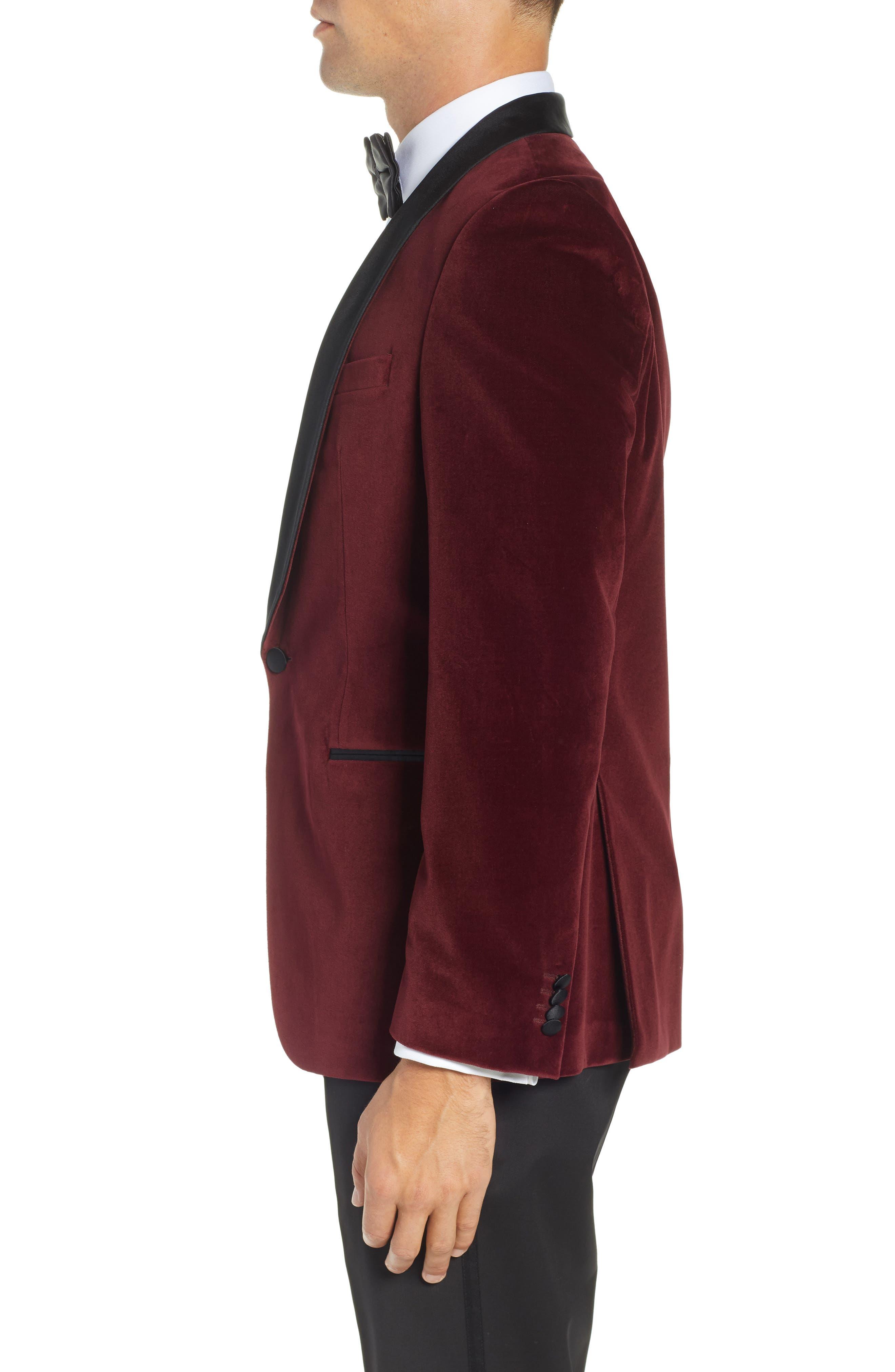 Hockley Slim Fit Velvet Cotton Dinner Jacket,                             Alternate thumbnail 3, color,                             DARK PURPLE