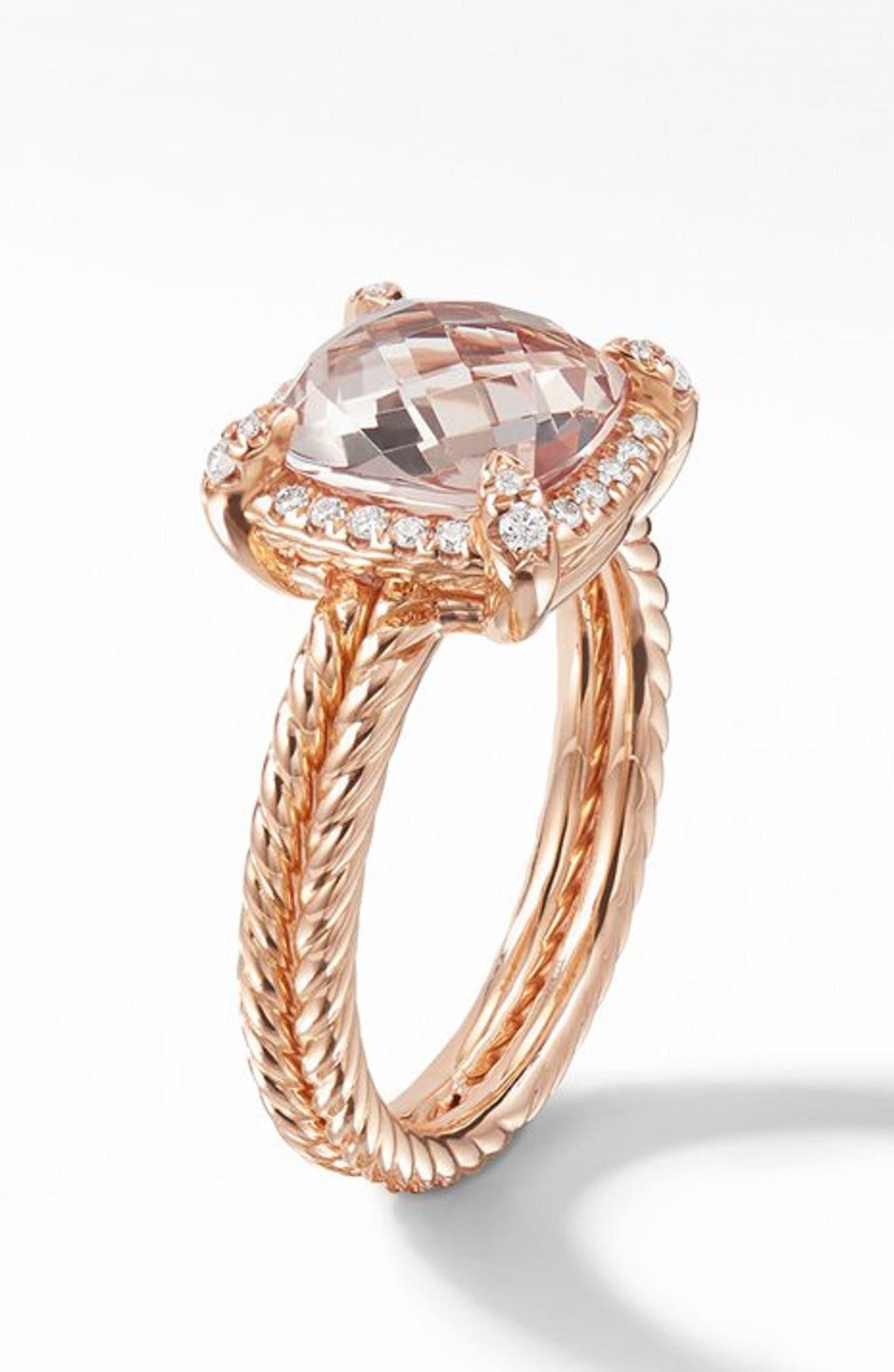 Chatelaine<sup>®</sup> Pavé Bezel Ring in 18K Rose Gold,                             Alternate thumbnail 2, color,                             ROSE GOLD/ DIAMOND/ MORGANITE