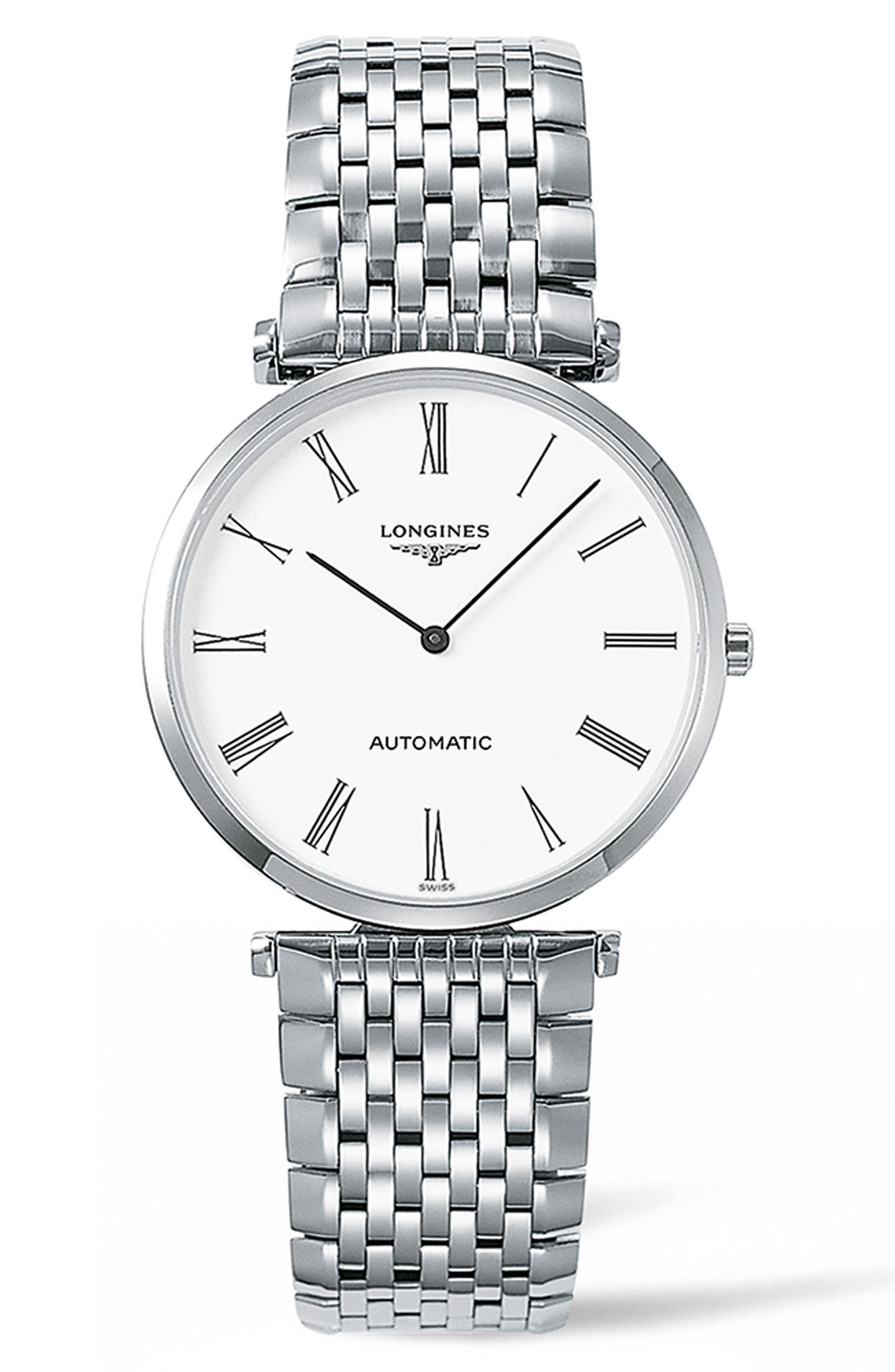 La Grande Classique de Longines Automatic Bracelet Watch, 36mm,                             Main thumbnail 1, color,                             SILVER/ WHITE/ SILVER