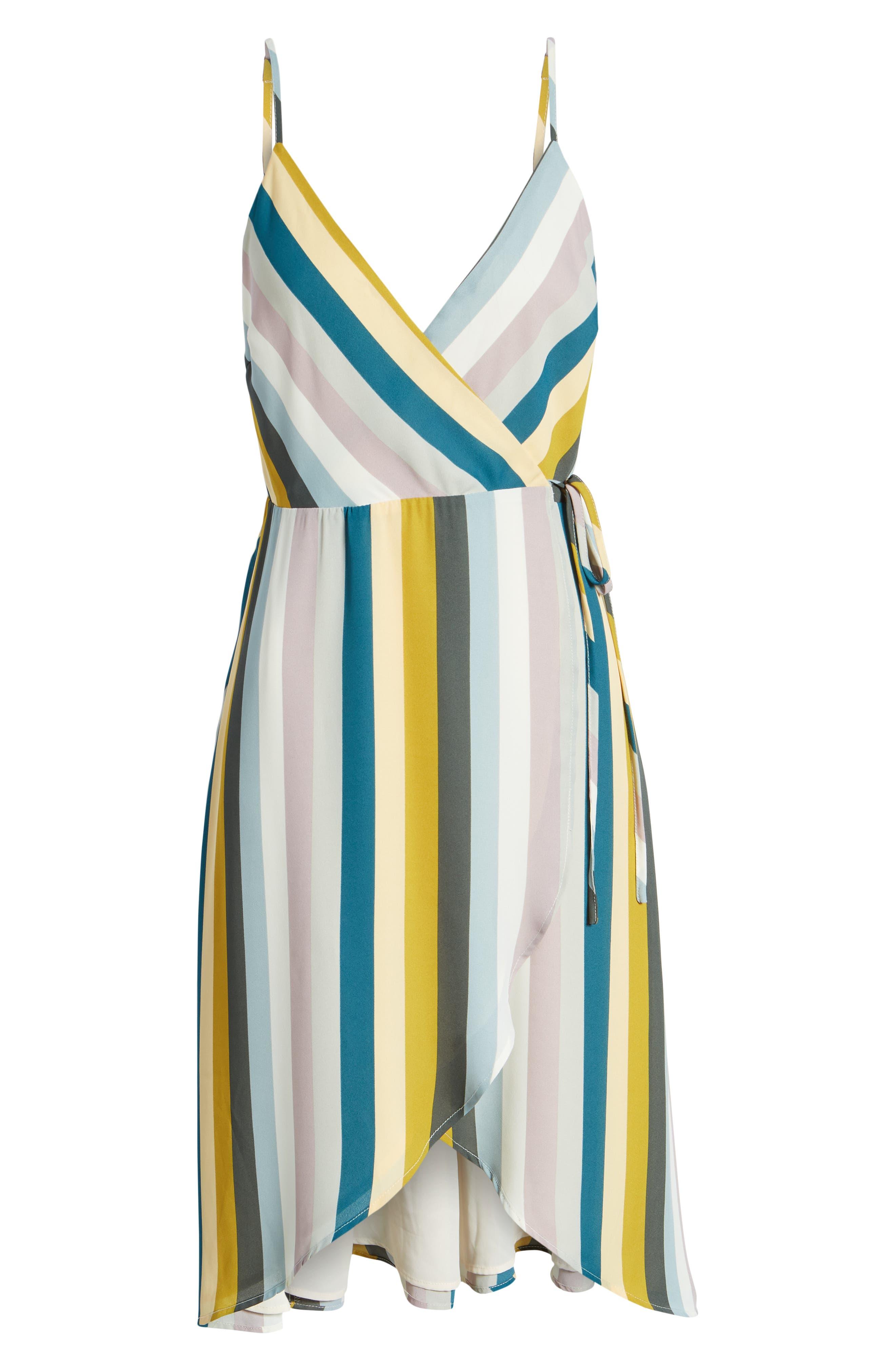 Stripe Wrap Dress,                             Alternate thumbnail 7, color,                             720