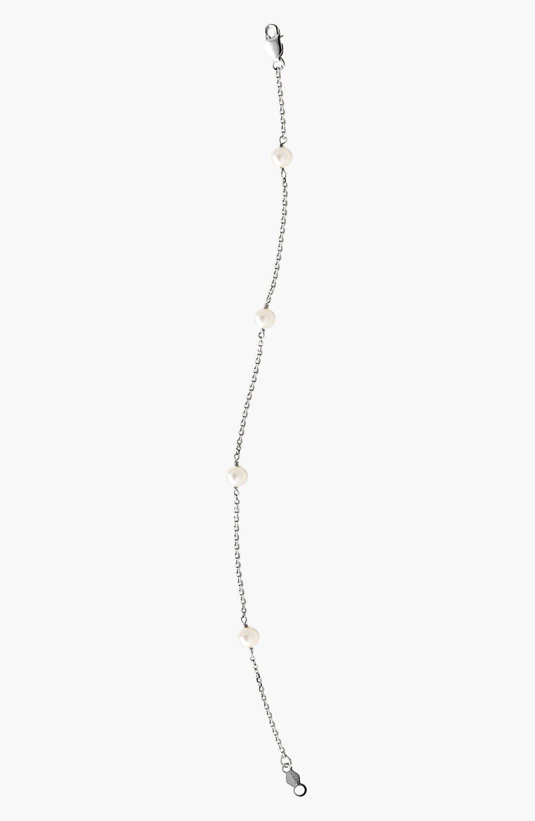 14k White Gold & Cultured Pearl Bracelet,                             Main thumbnail 1, color,
