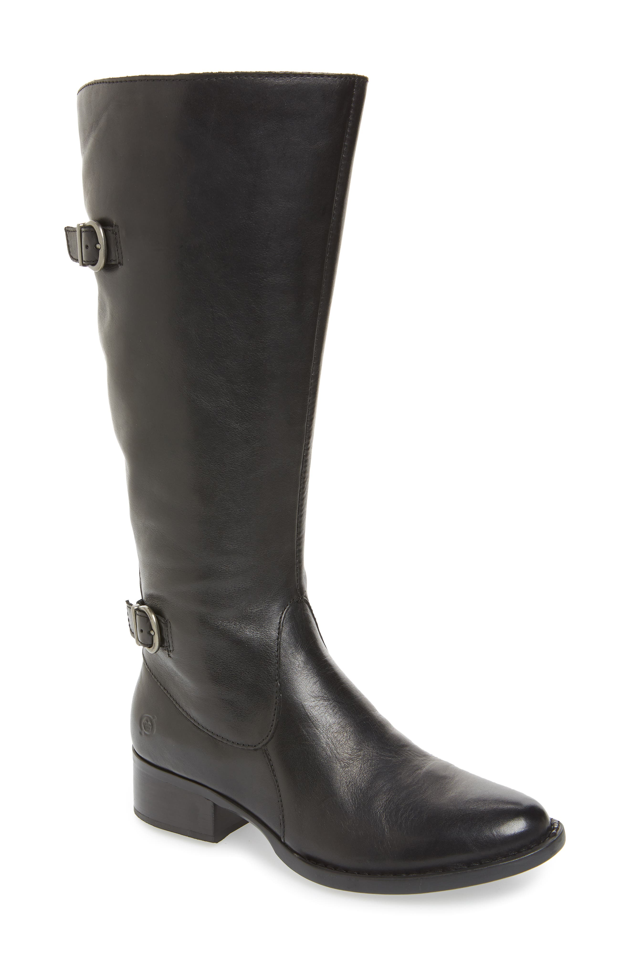 Gibb Knee High Riding Boot,                             Main thumbnail 1, color,                             BLACK LEATHER