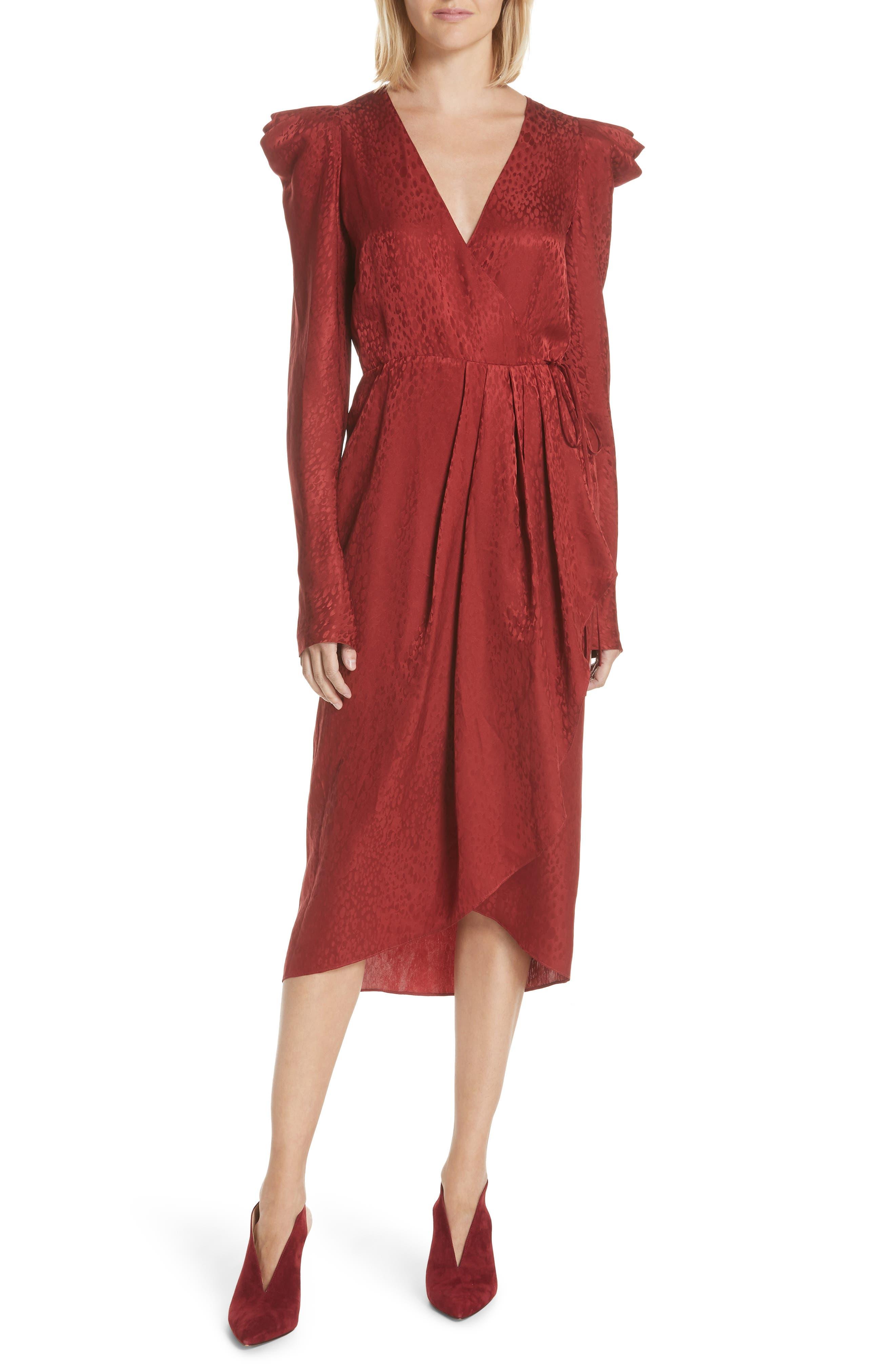 Carolina Puff Shoulder Silk Jacquard Dress,                             Main thumbnail 1, color,                             CRIMSON
