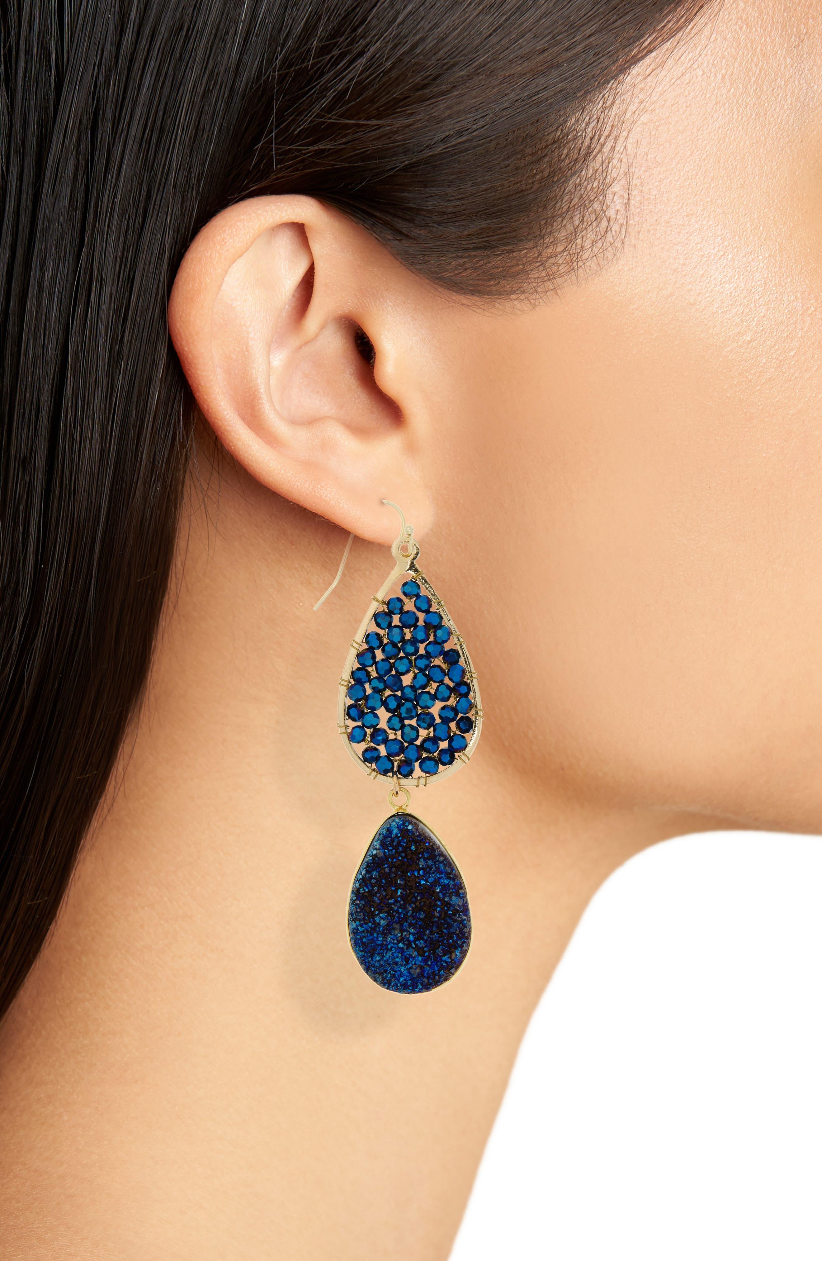 Crystal Drop Earrings,                             Alternate thumbnail 2, color,                             410