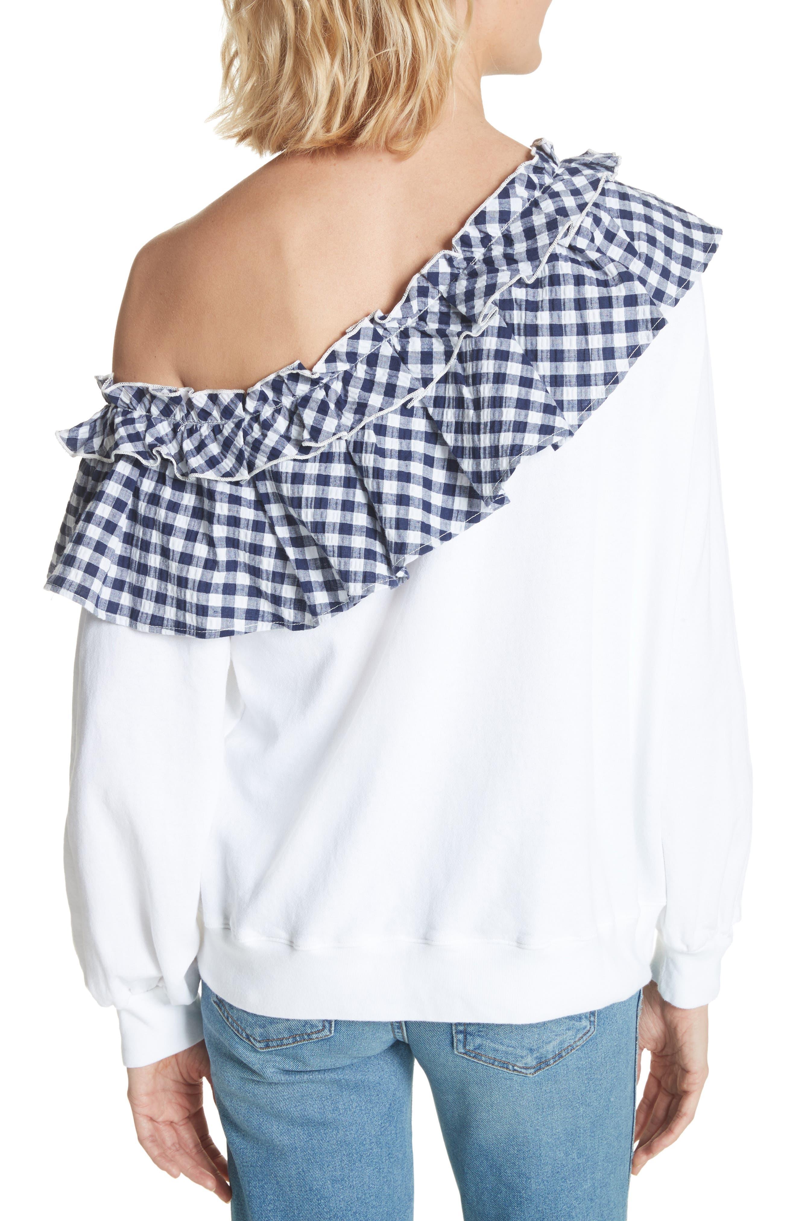 Gingham Ruffle One-Shoulder Sweatshirt,                             Alternate thumbnail 2, color,                             100