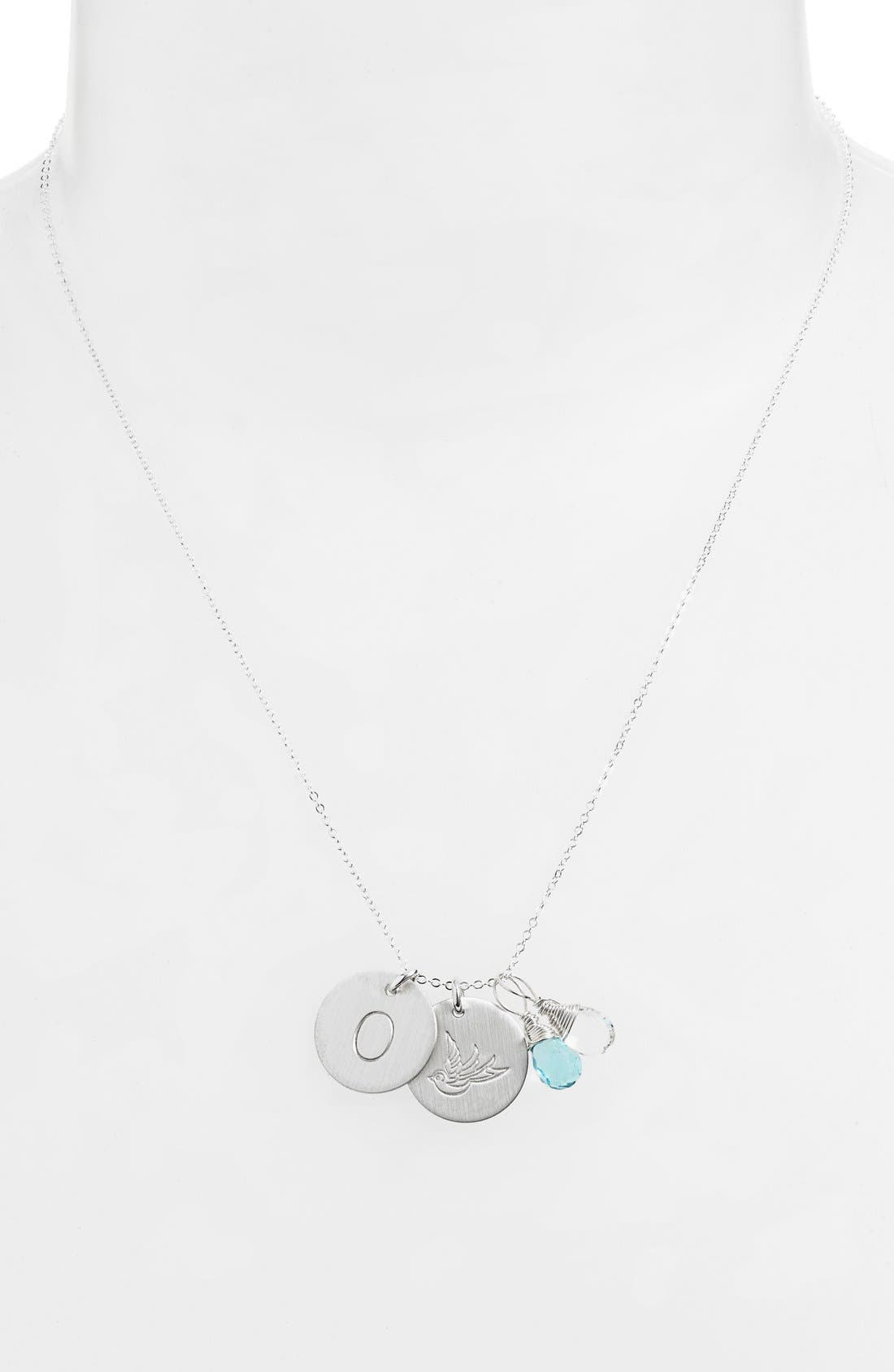 Ocean Blue & Crystal Swallow Sterling Silver Initial Disc Necklace,                             Alternate thumbnail 2, color,                             OCEAN BLUE AND CRYSTAL O