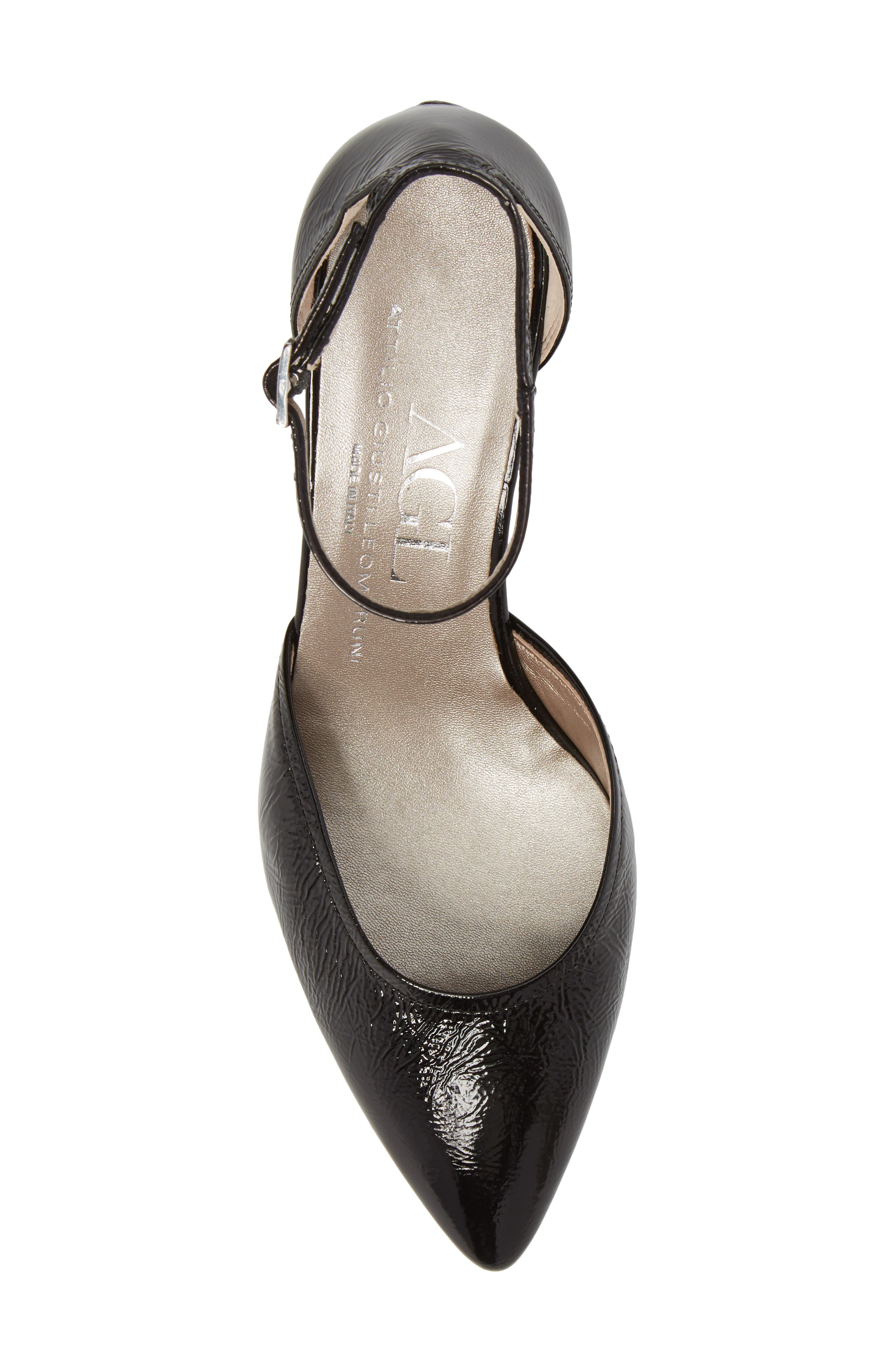 d'Orsay Ankle Strap Pump,                             Alternate thumbnail 5, color,                             BLACK GLAMMY LEATHER