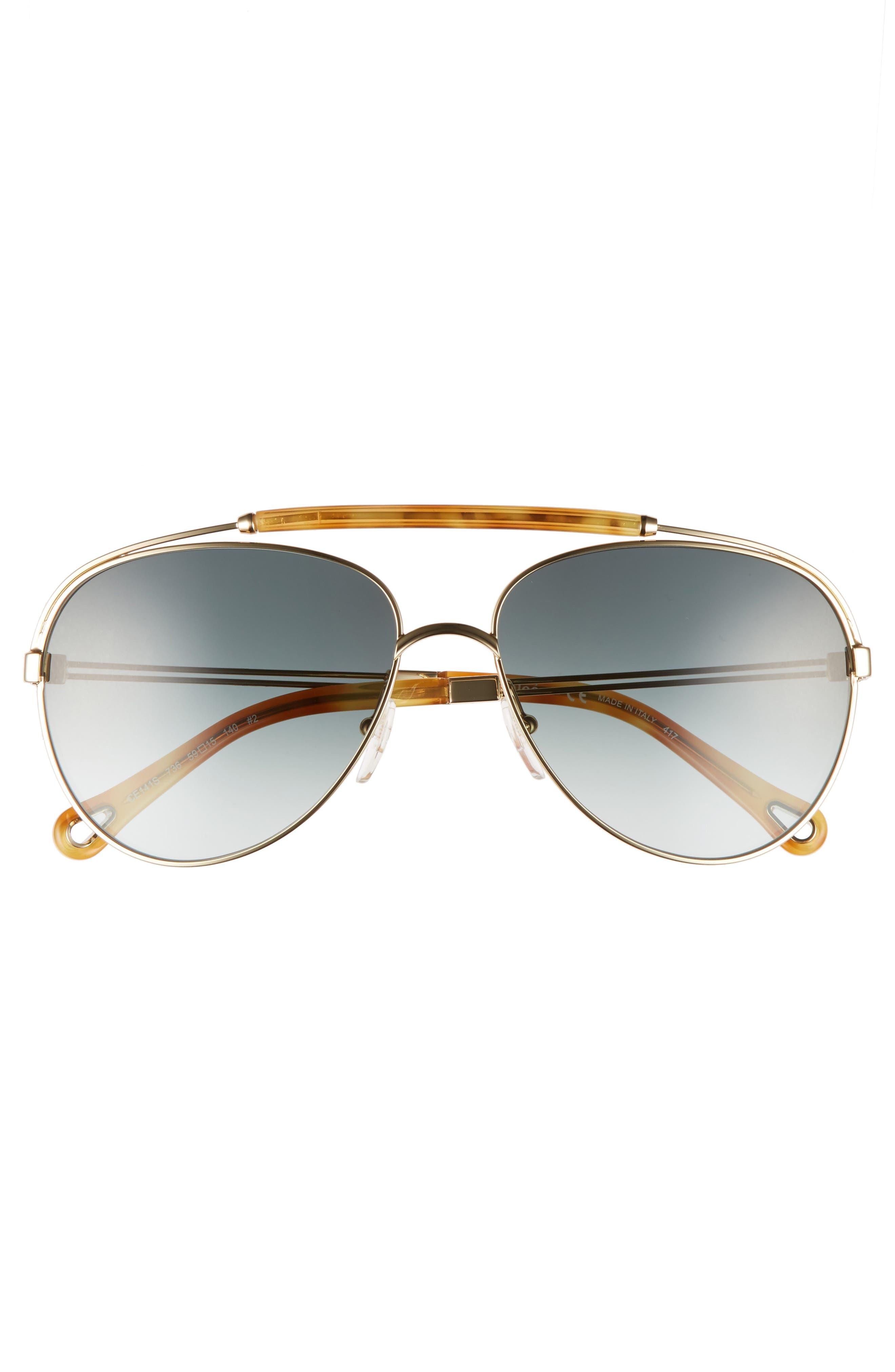 Jackie 59mm Aviator Sunglasses,                             Alternate thumbnail 3, color,                             GOLD/ BLONDE HAVANA
