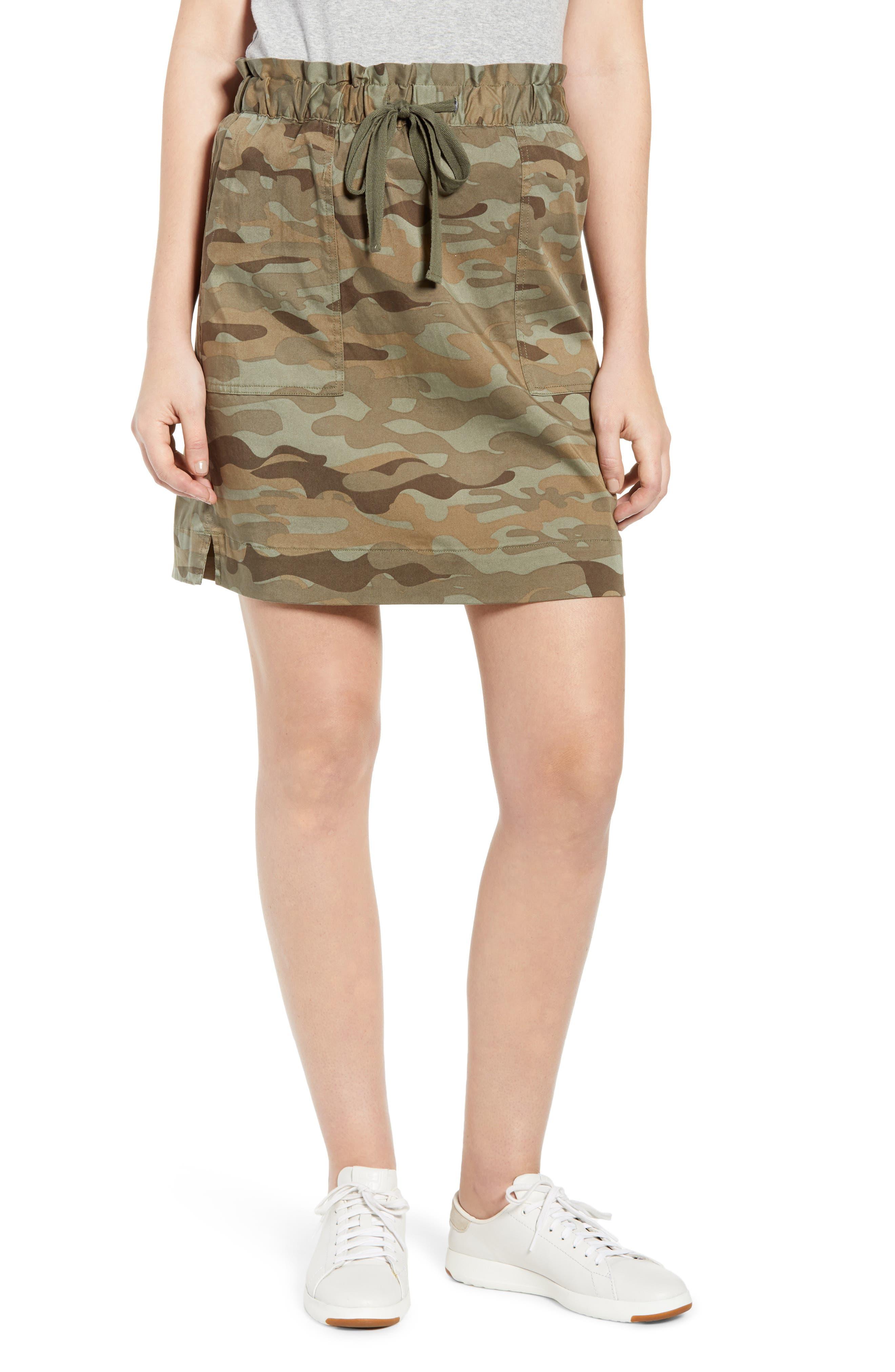 Petite Caslon Paperbag Waist Skirt, Green