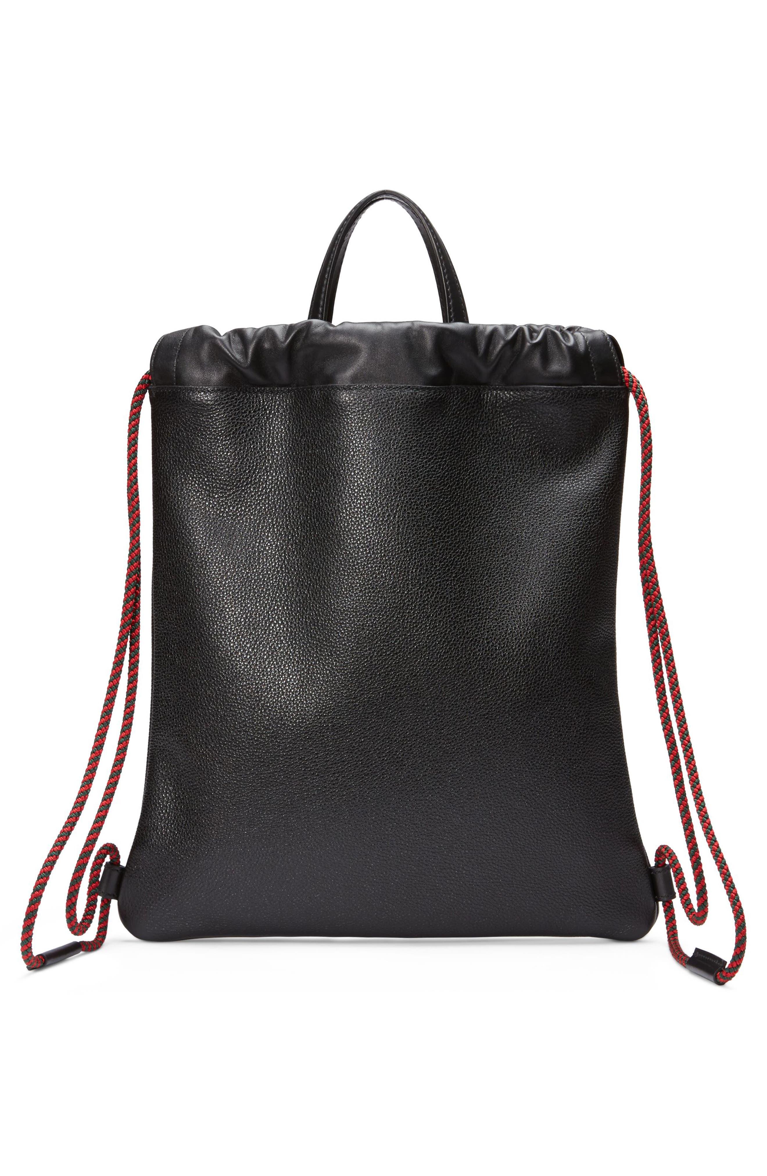 Small Logo Leather Drawstring Backpack,                             Alternate thumbnail 2, color,                             NERO/ VERT RED VERT