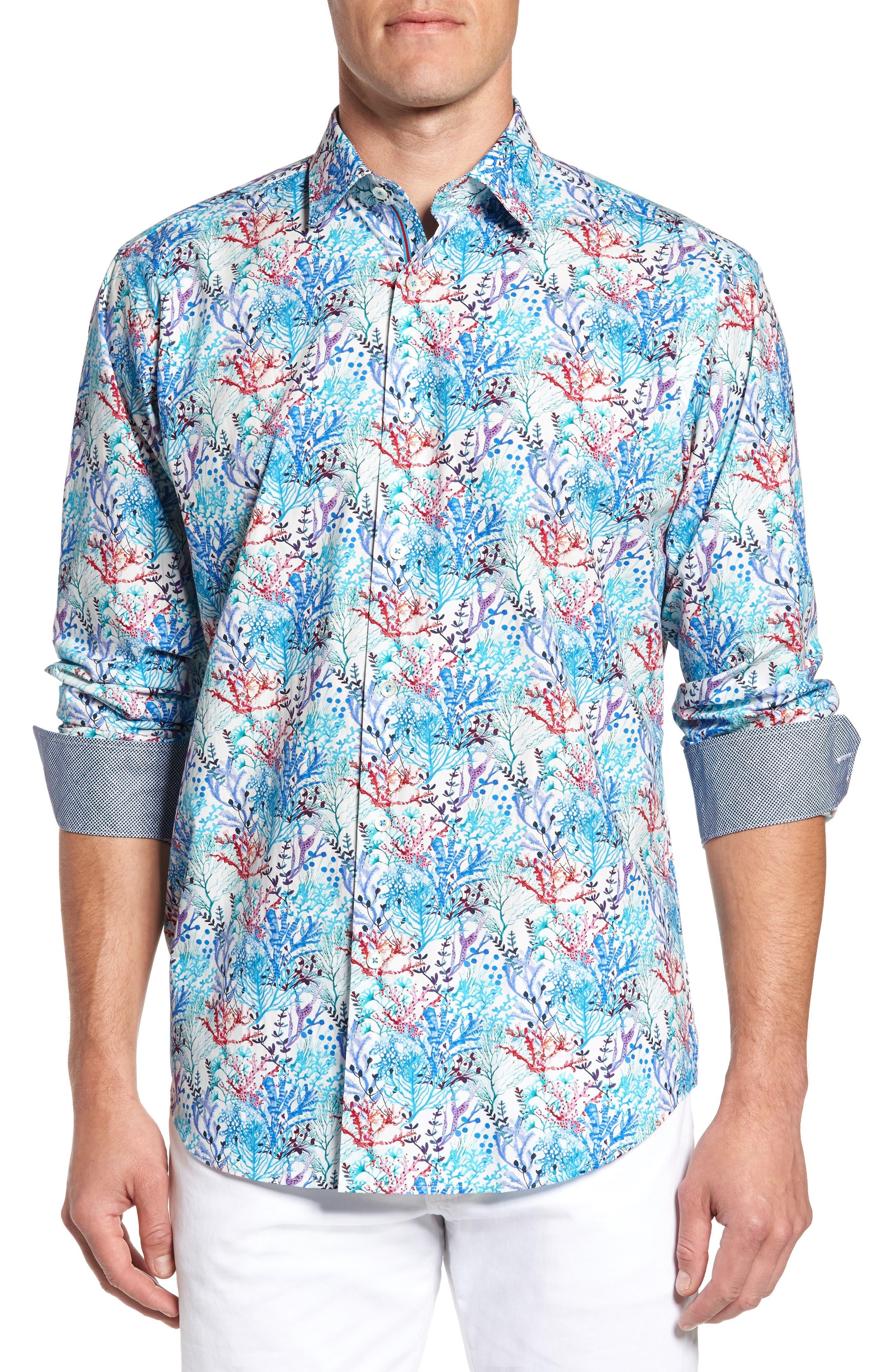 BUGATCHI Classic Fit Floral Print Sport Shirt, Main, color, 425
