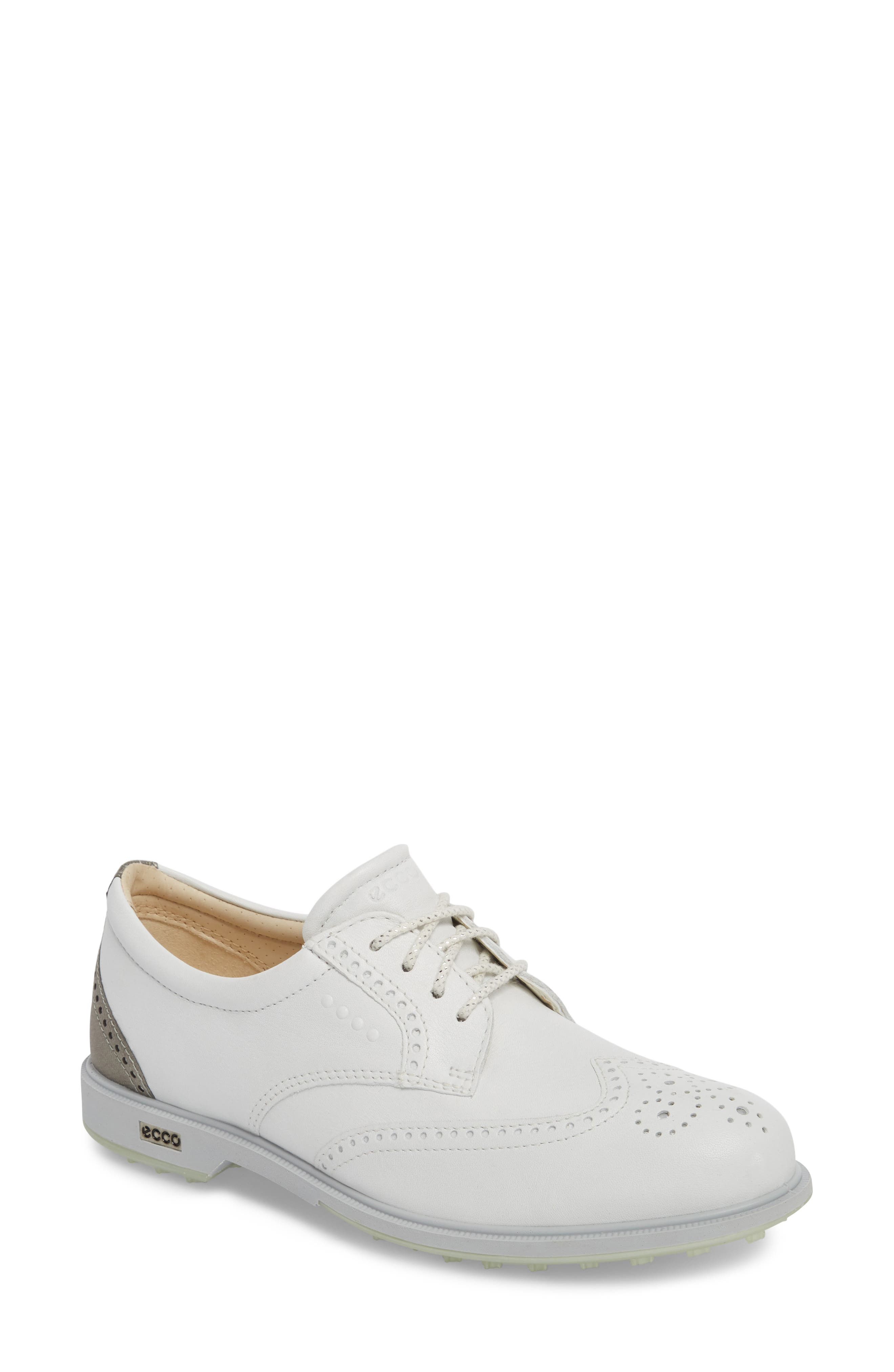 'Tour' Hybrid Wingtip Golf Shoe,                             Main thumbnail 1, color,                             WHITE LEATHER/ GREY