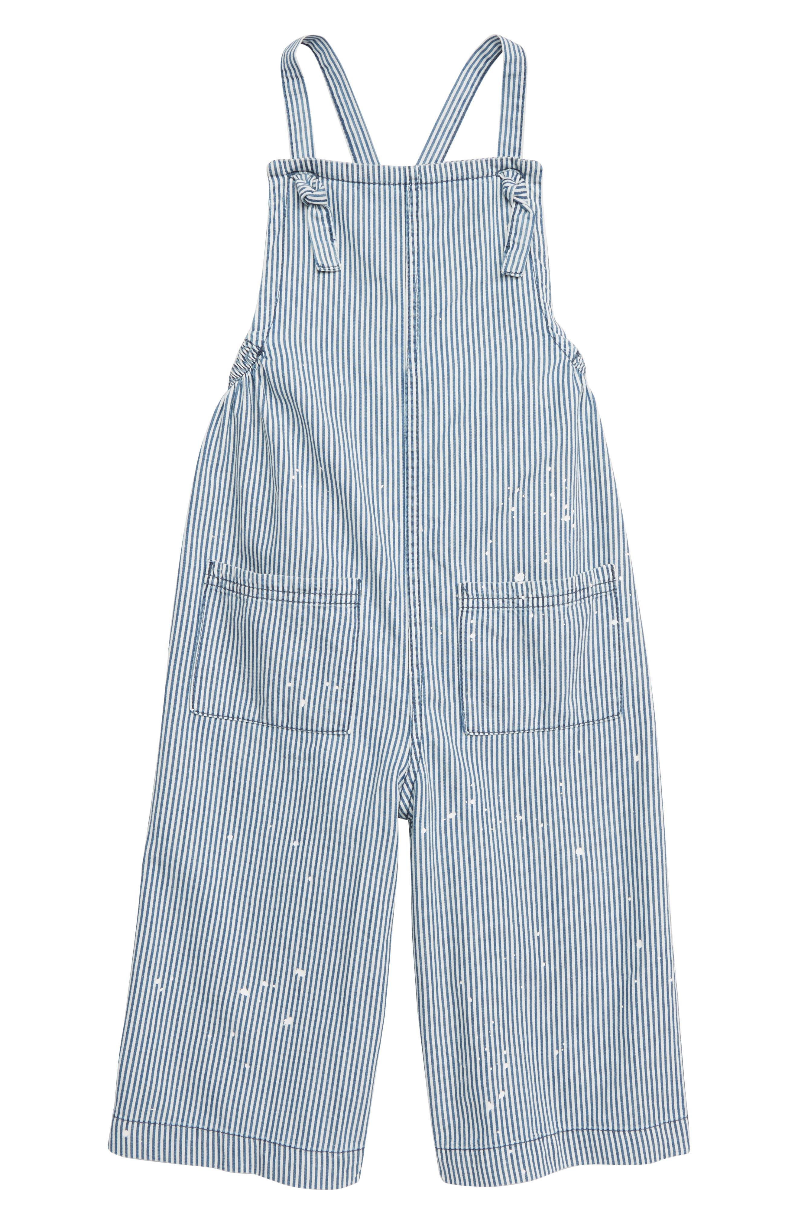 Toddler Girls Stem Railroad Stripe Overalls Size 2T  Blue