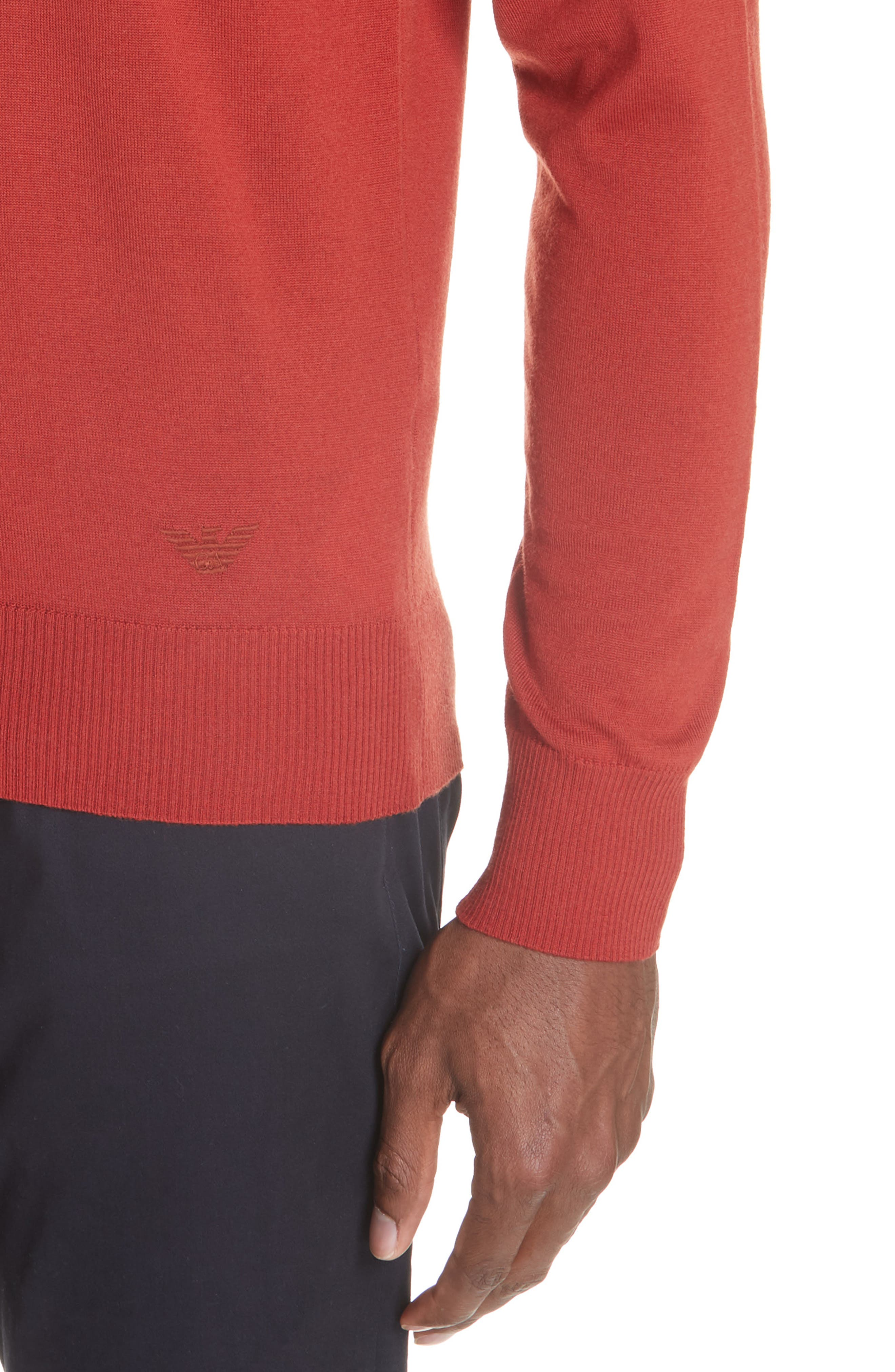V-Neck Wool Sweater,                             Alternate thumbnail 4, color,                             RED
