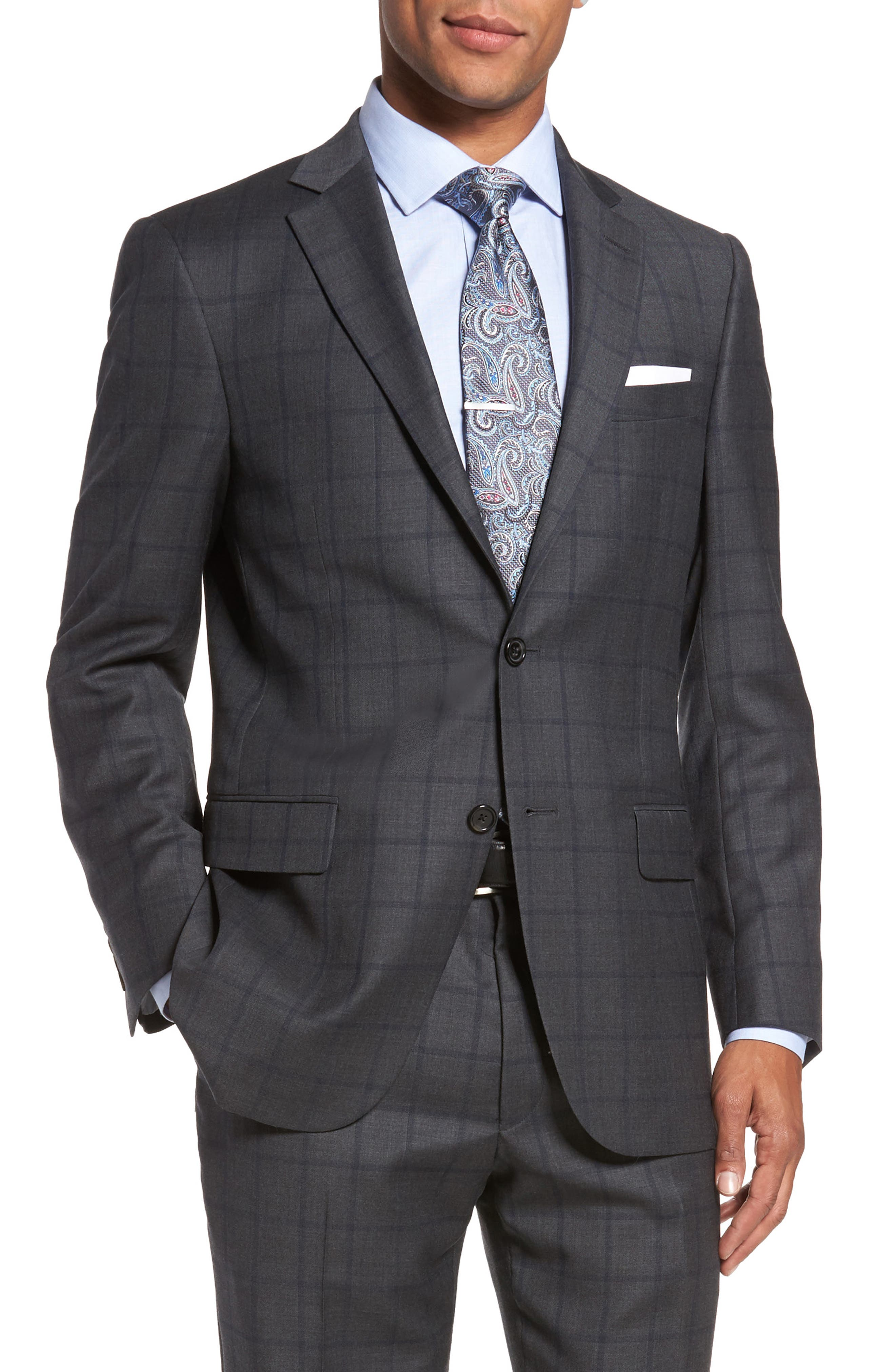 Classic Fit Windowpane Wool Suit,                             Alternate thumbnail 5, color,                             344