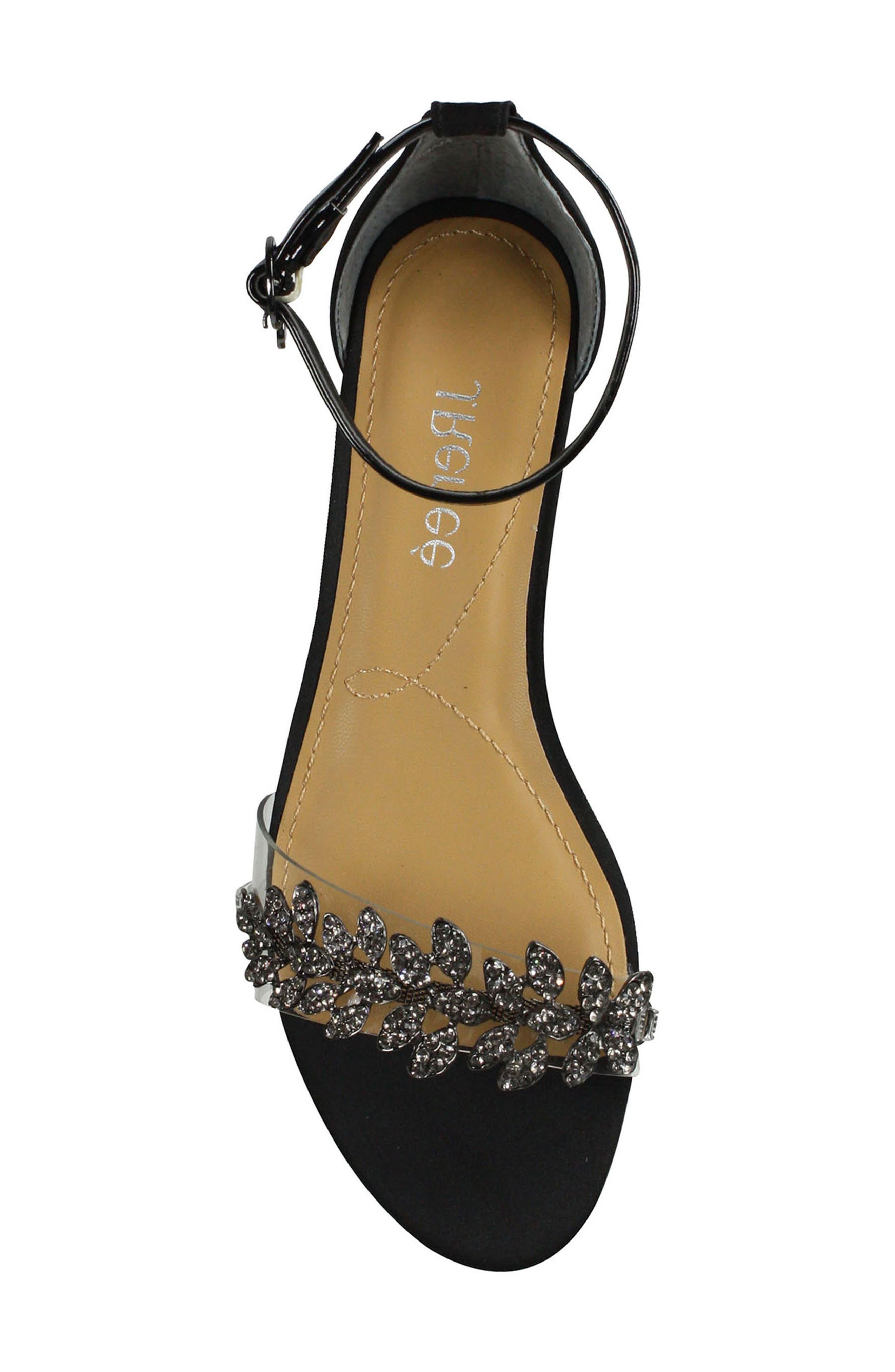 Evania Ankle Strap Sandal,                             Alternate thumbnail 5, color,                             BLACK SATIN