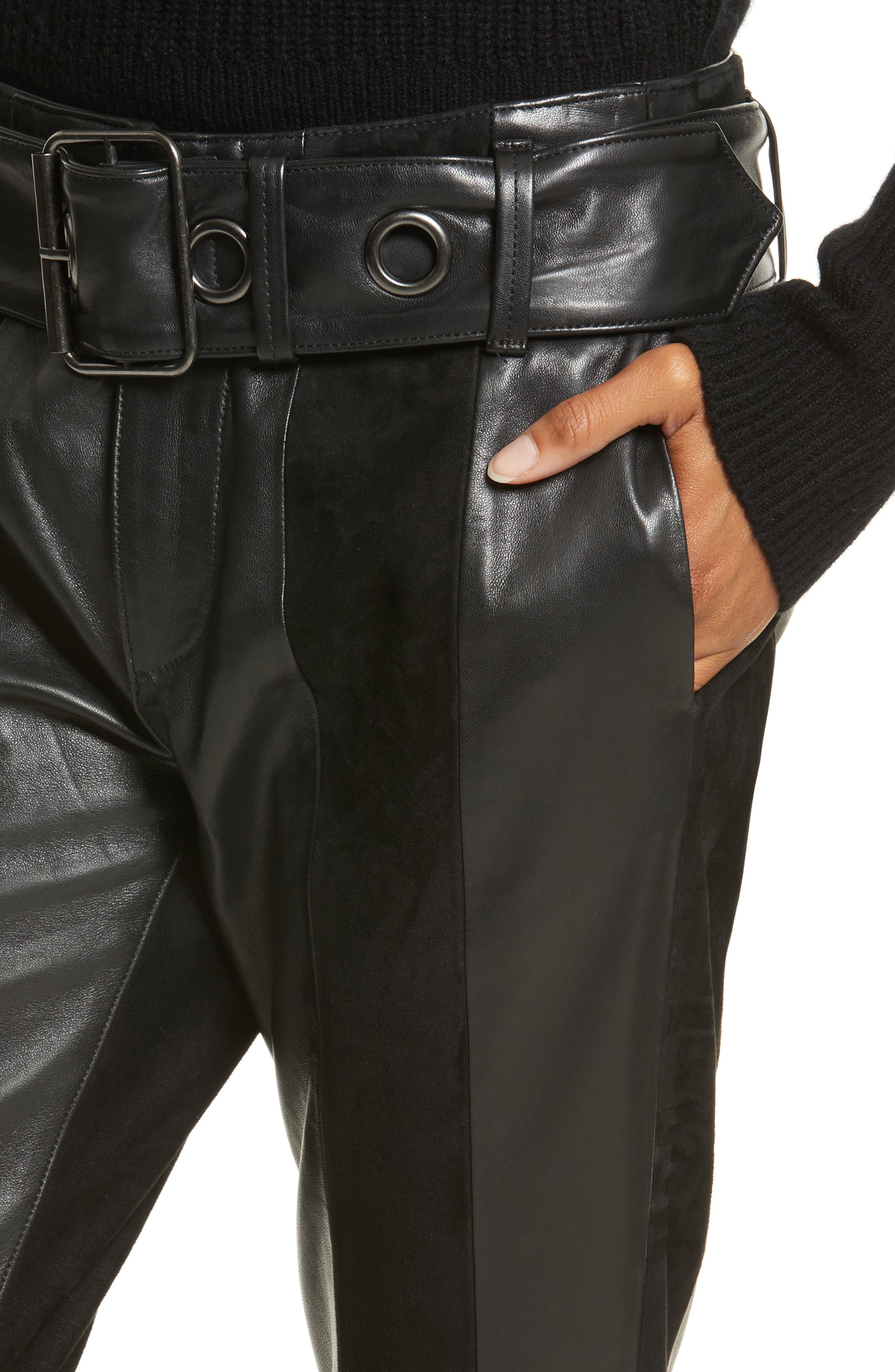 Paneled Suede & Leather Pants,                             Alternate thumbnail 4, color,                             001