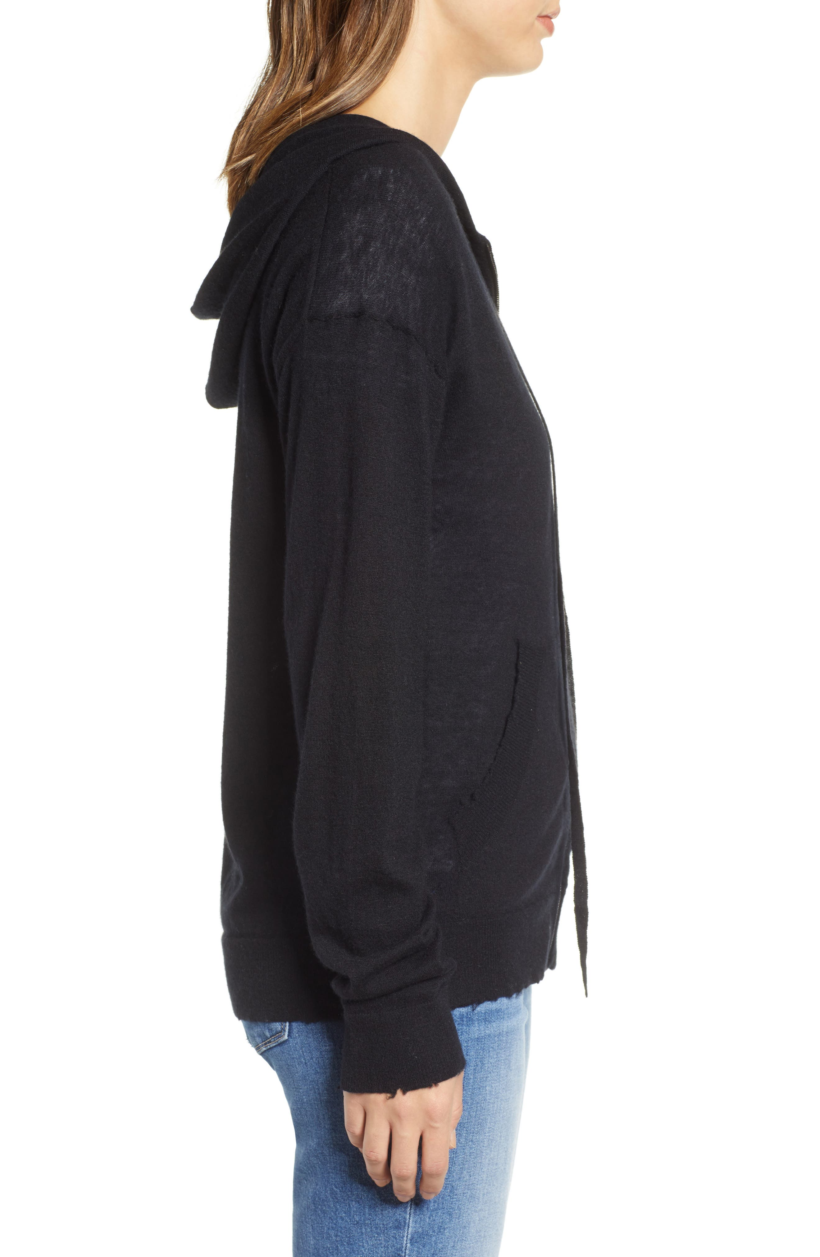 ZADIG & VOLTAIRE,                             Sixtine Bis Cashmere Zip Sweater Hoodie,                             Alternate thumbnail 3, color,                             001