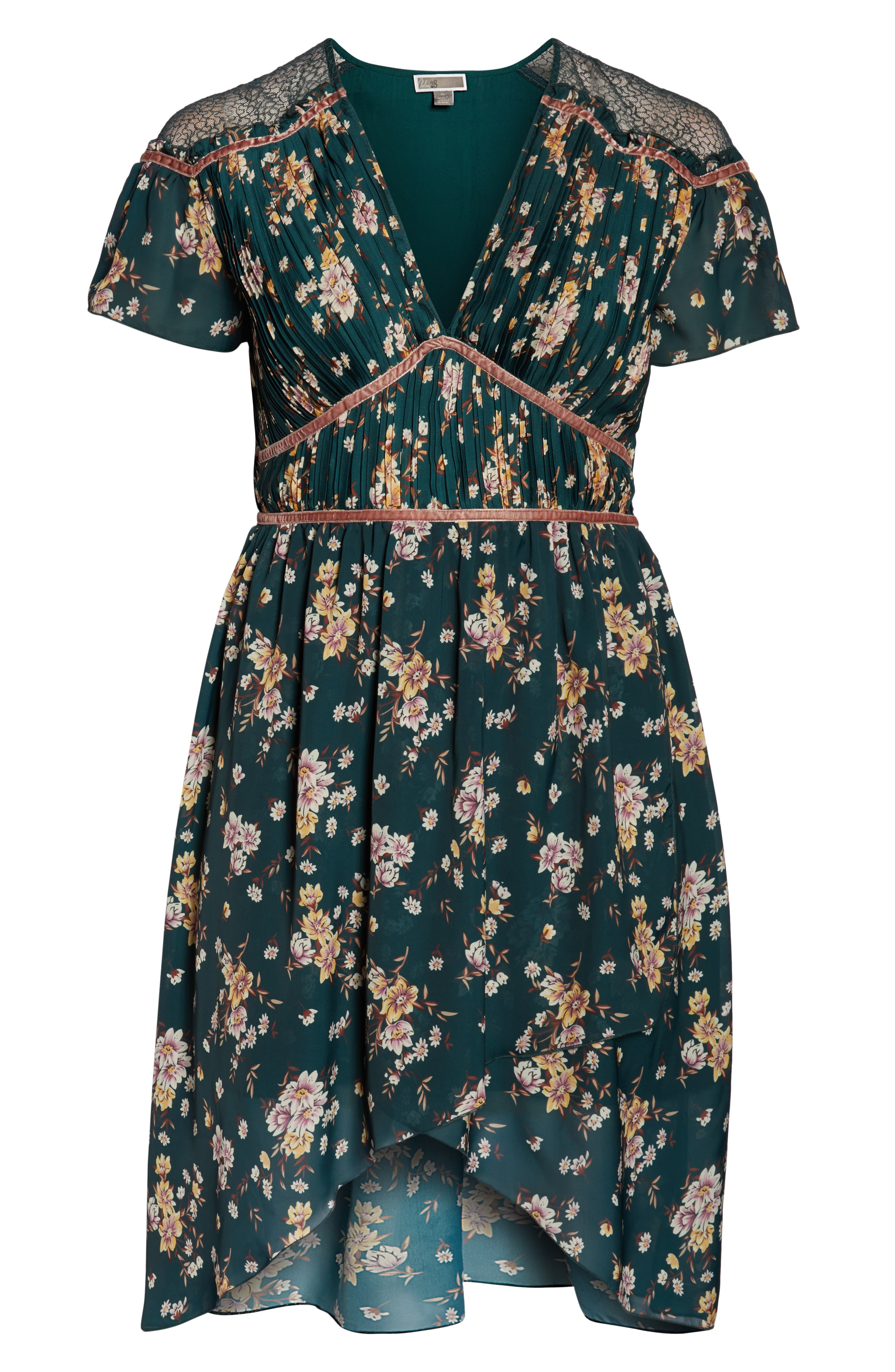 Floral Pleat & Lace Mix Dress,                             Alternate thumbnail 13, color,                             GREEN BRANCHING LILIES