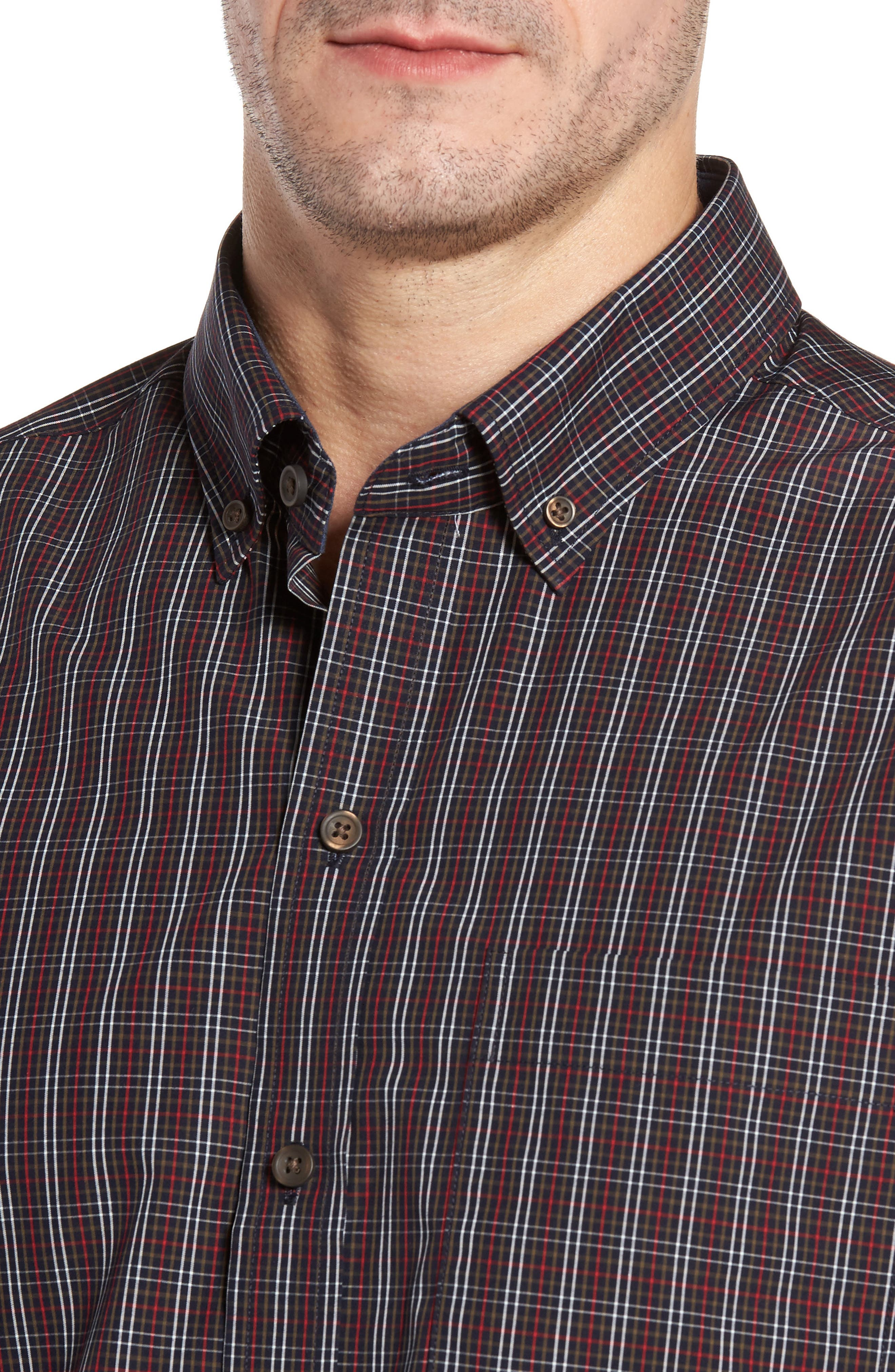 Cavanah Non-Iron Plaid Sport Shirt,                             Alternate thumbnail 4, color,                             493