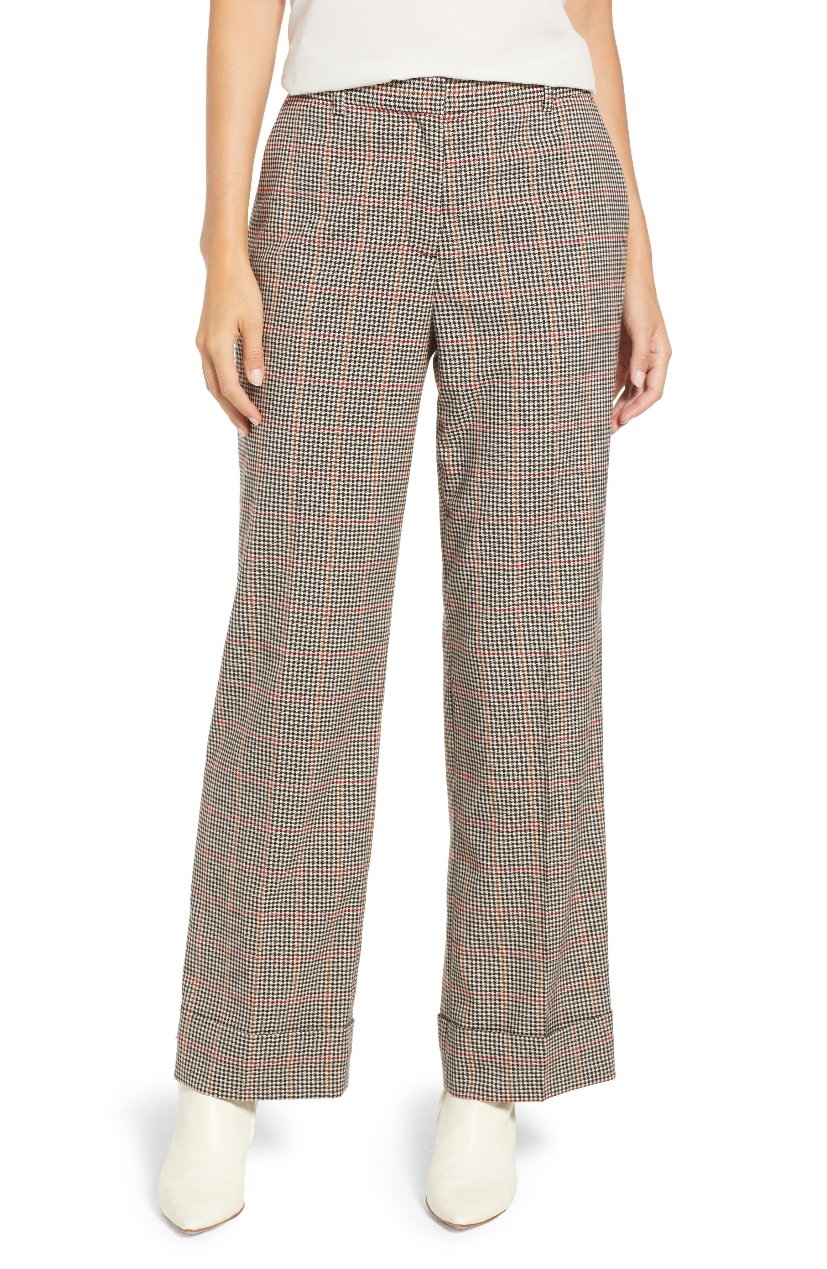 Country Check Wide Leg Cuff Pants in Rich Black