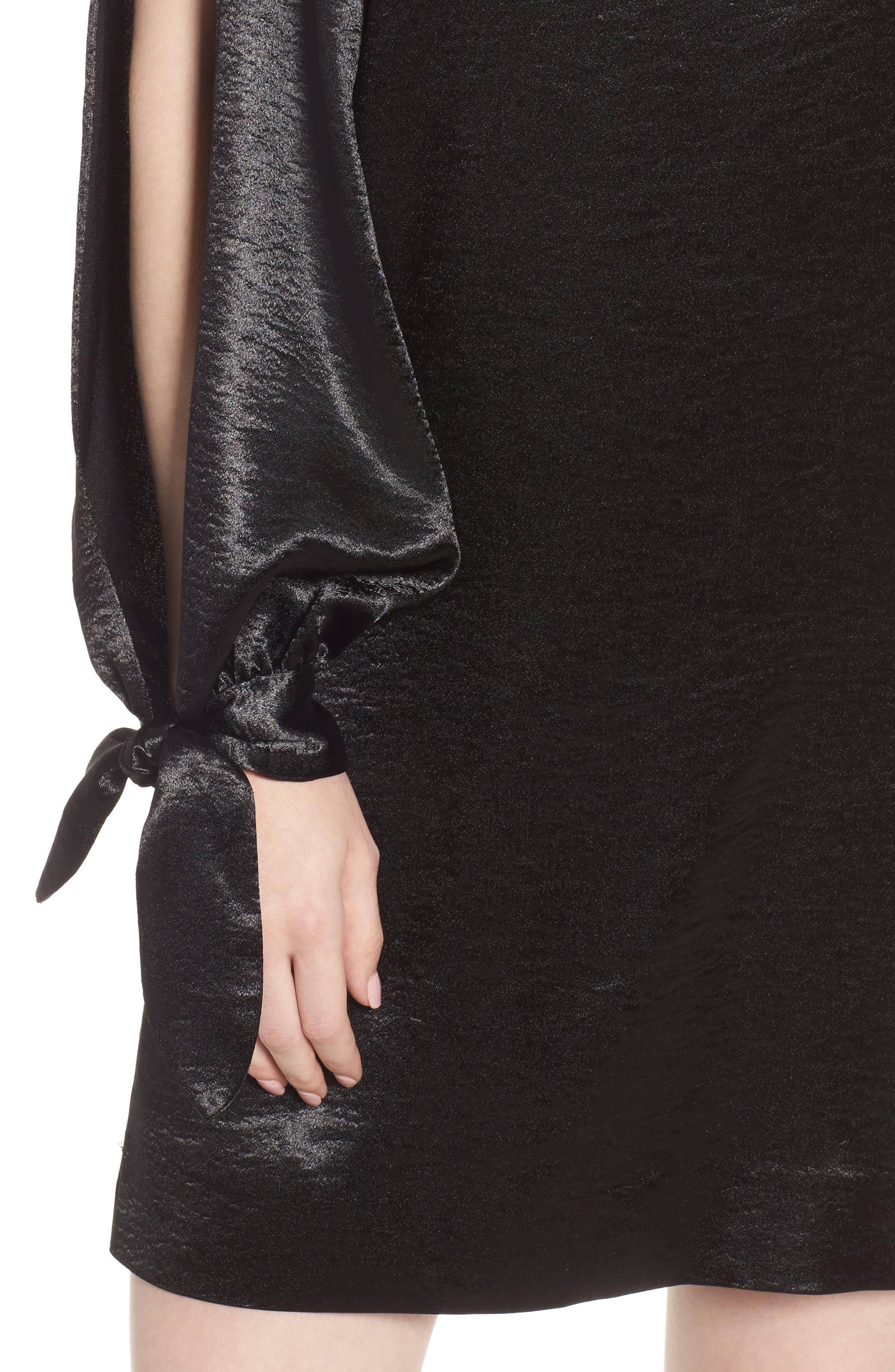 Nash One-Shoulder Shift Dress,                             Alternate thumbnail 4, color,                             001
