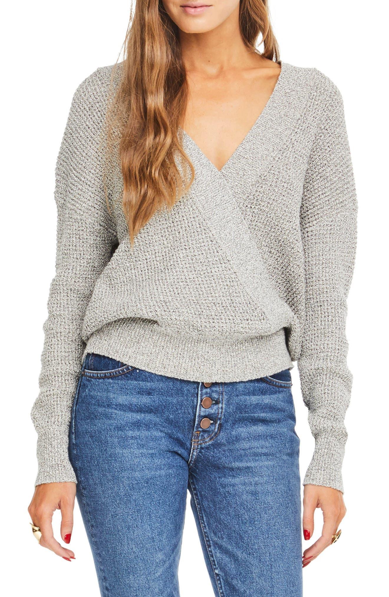 Stephanie Surplice Sweater,                             Main thumbnail 1, color,                             HEATHER GREY