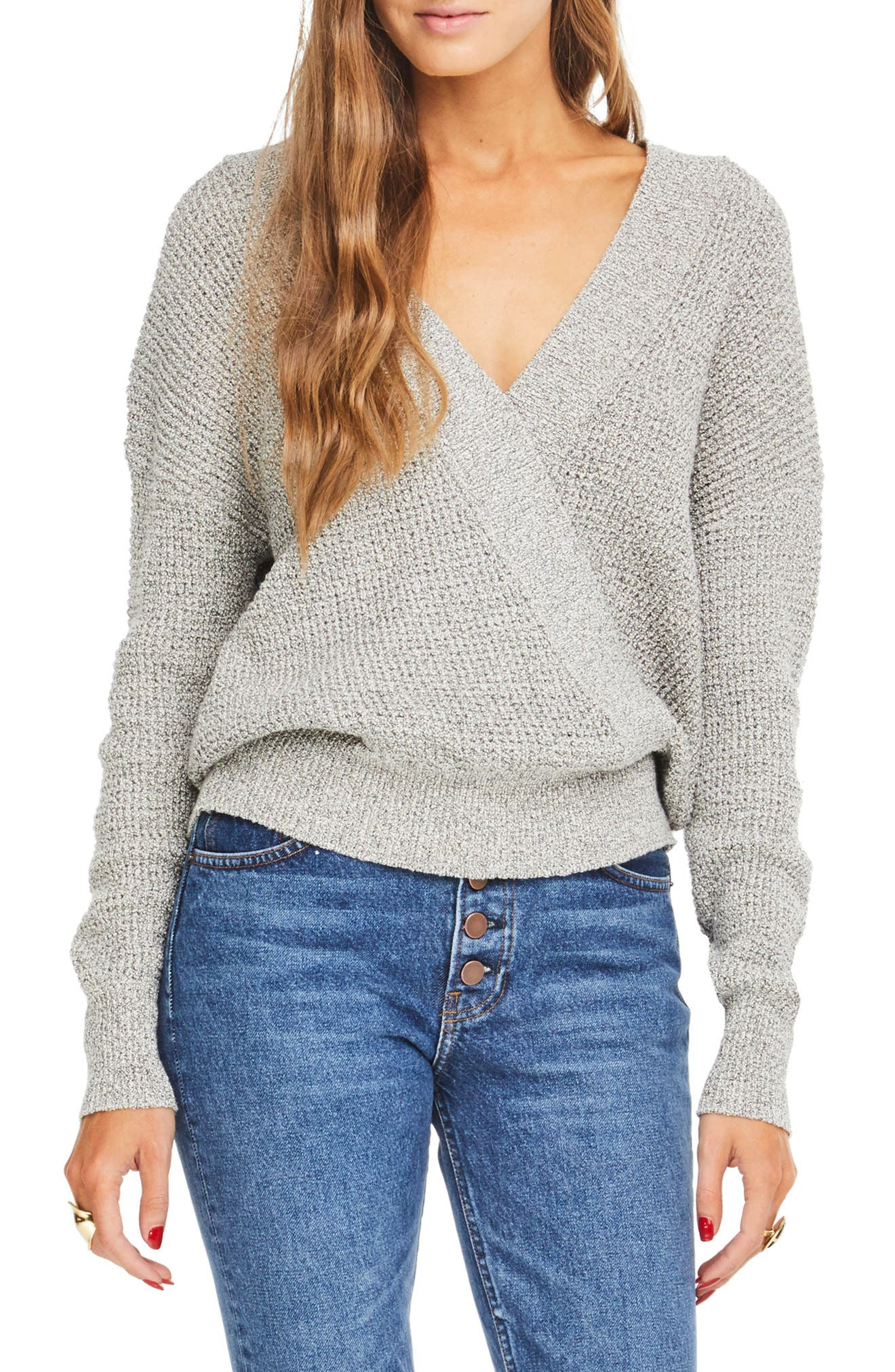 Stephanie Surplice Sweater,                         Main,                         color, HEATHER GREY