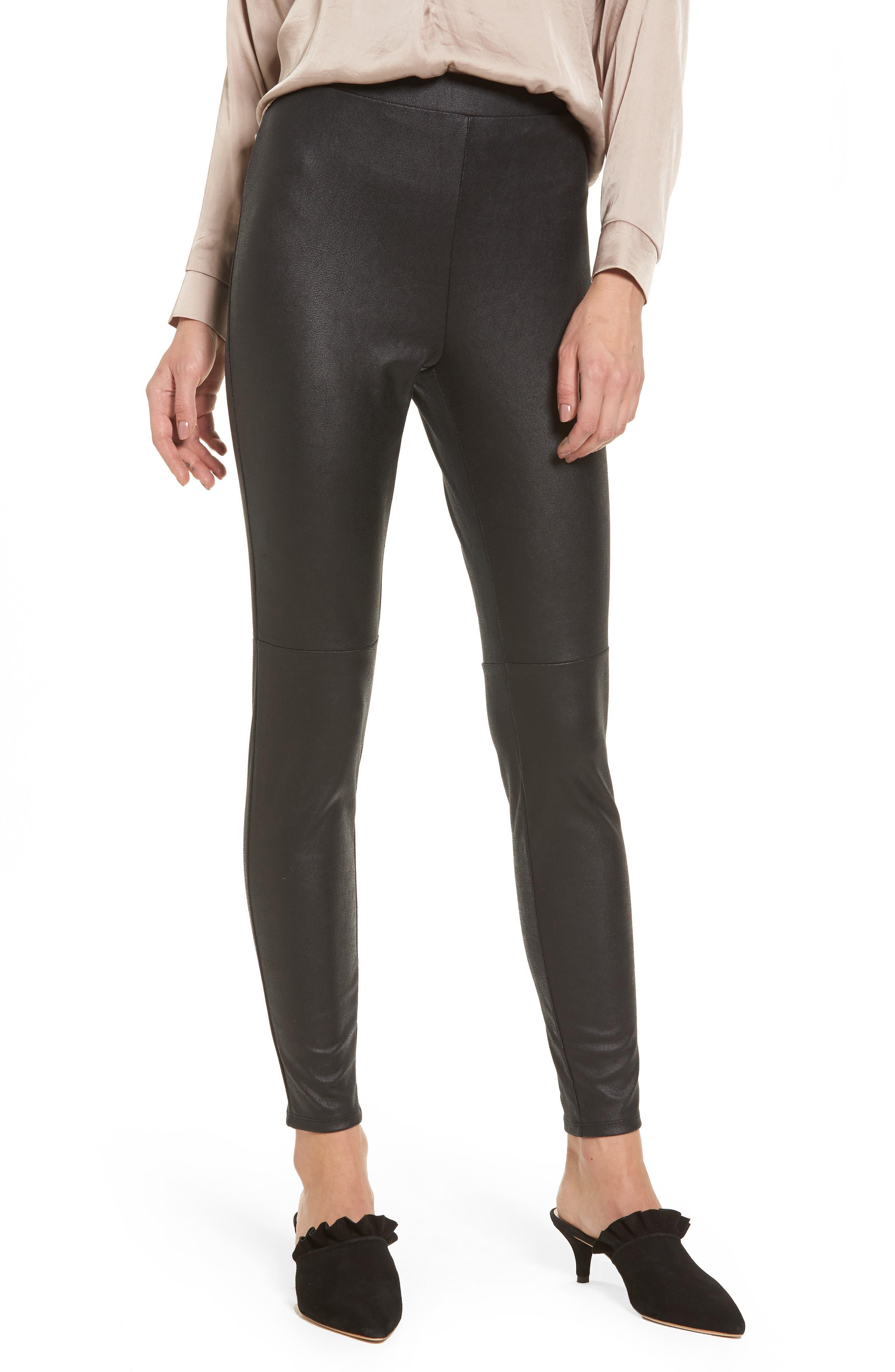 High Waist Faux Leather Leggings,                         Main,                         color, 001