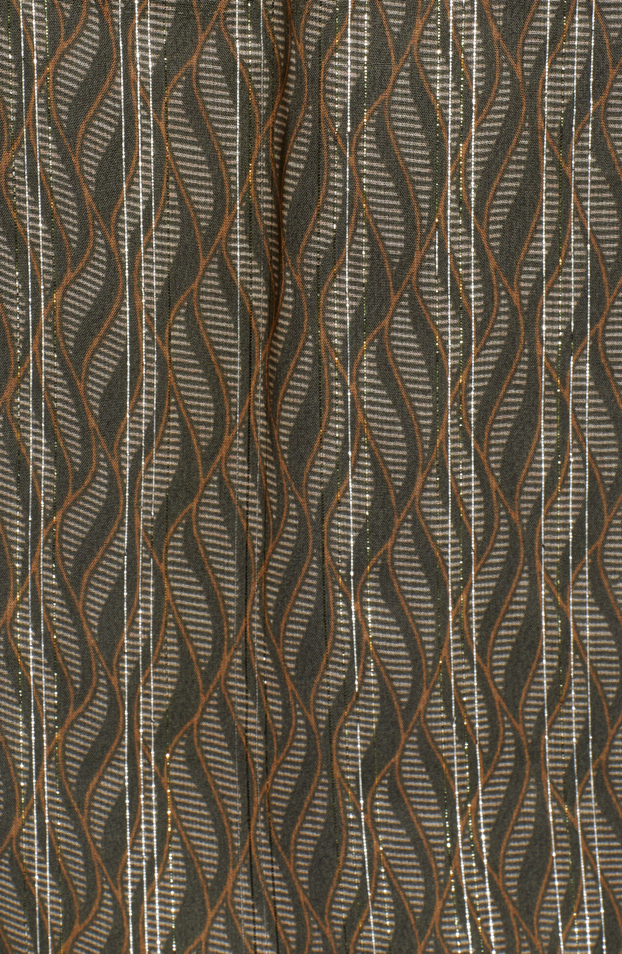 Metallic Detail Sheer Ruffle Blouse,                             Alternate thumbnail 5, color,                             SAGE GREEN PRINT W/