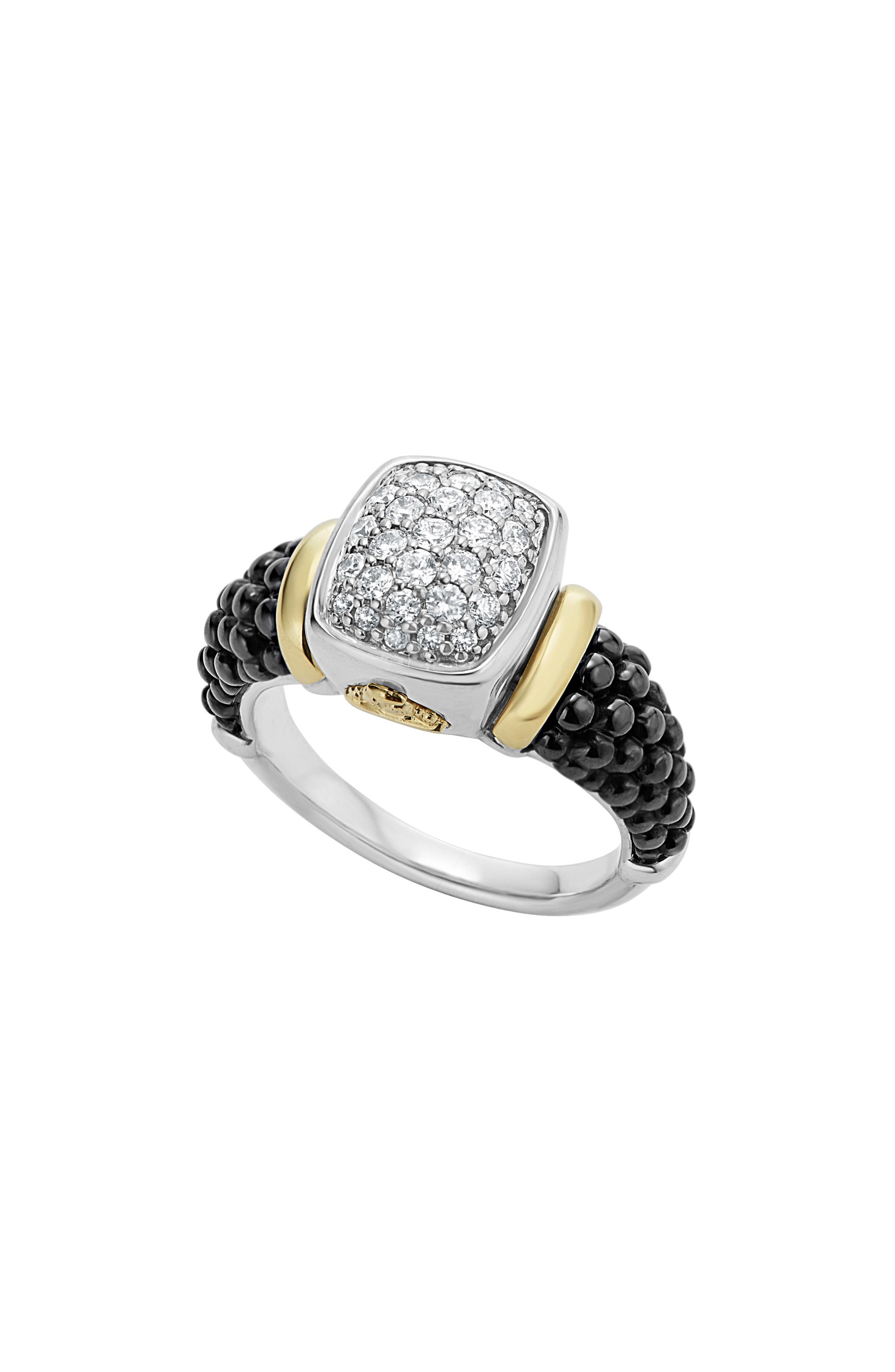 'Caviar' Diamond Ring,                         Main,                         color, BLACK/ GOLD