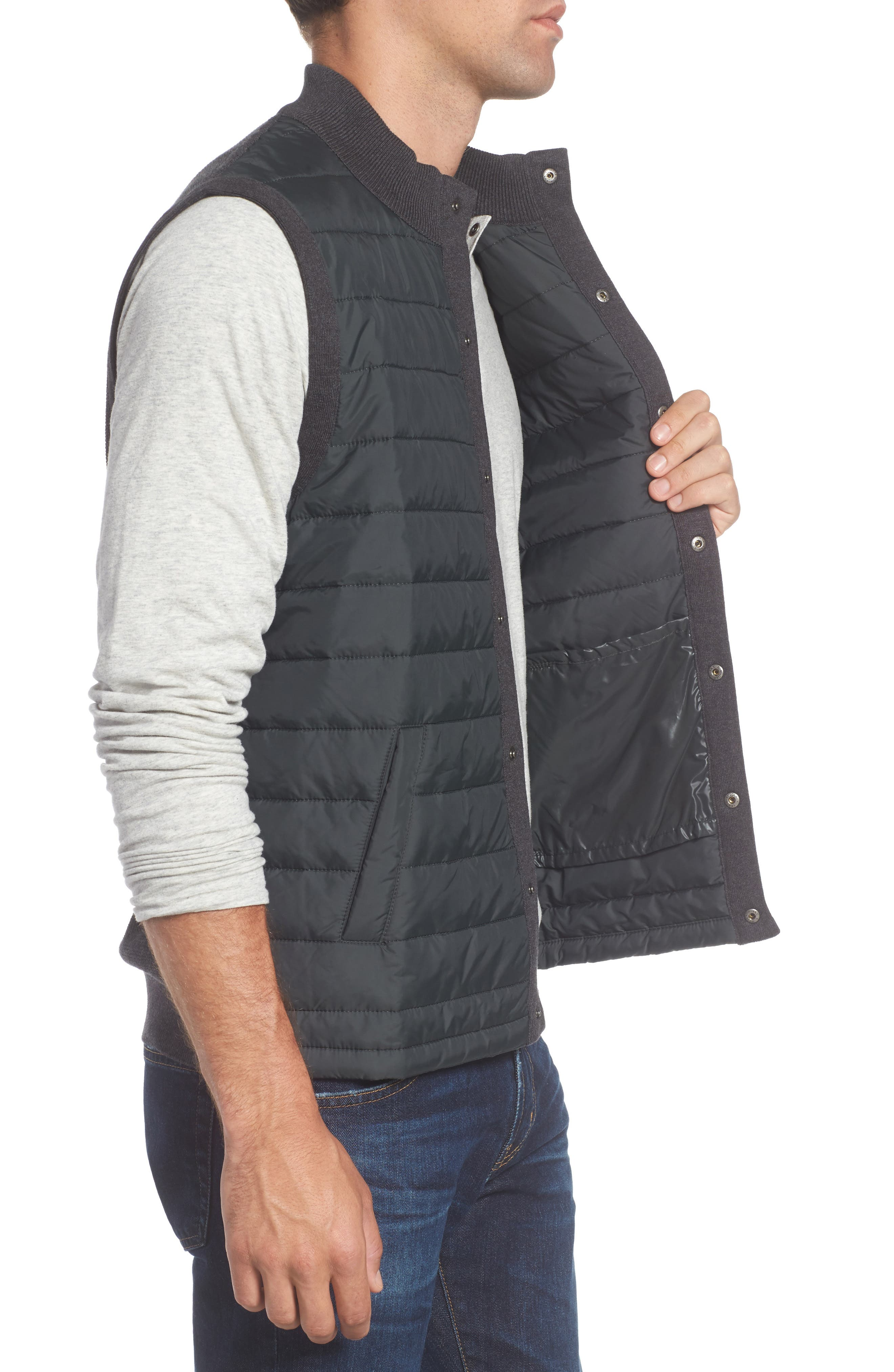 'Essential' Tailored Fit Mixed Media Vest,                             Alternate thumbnail 3, color,                             020