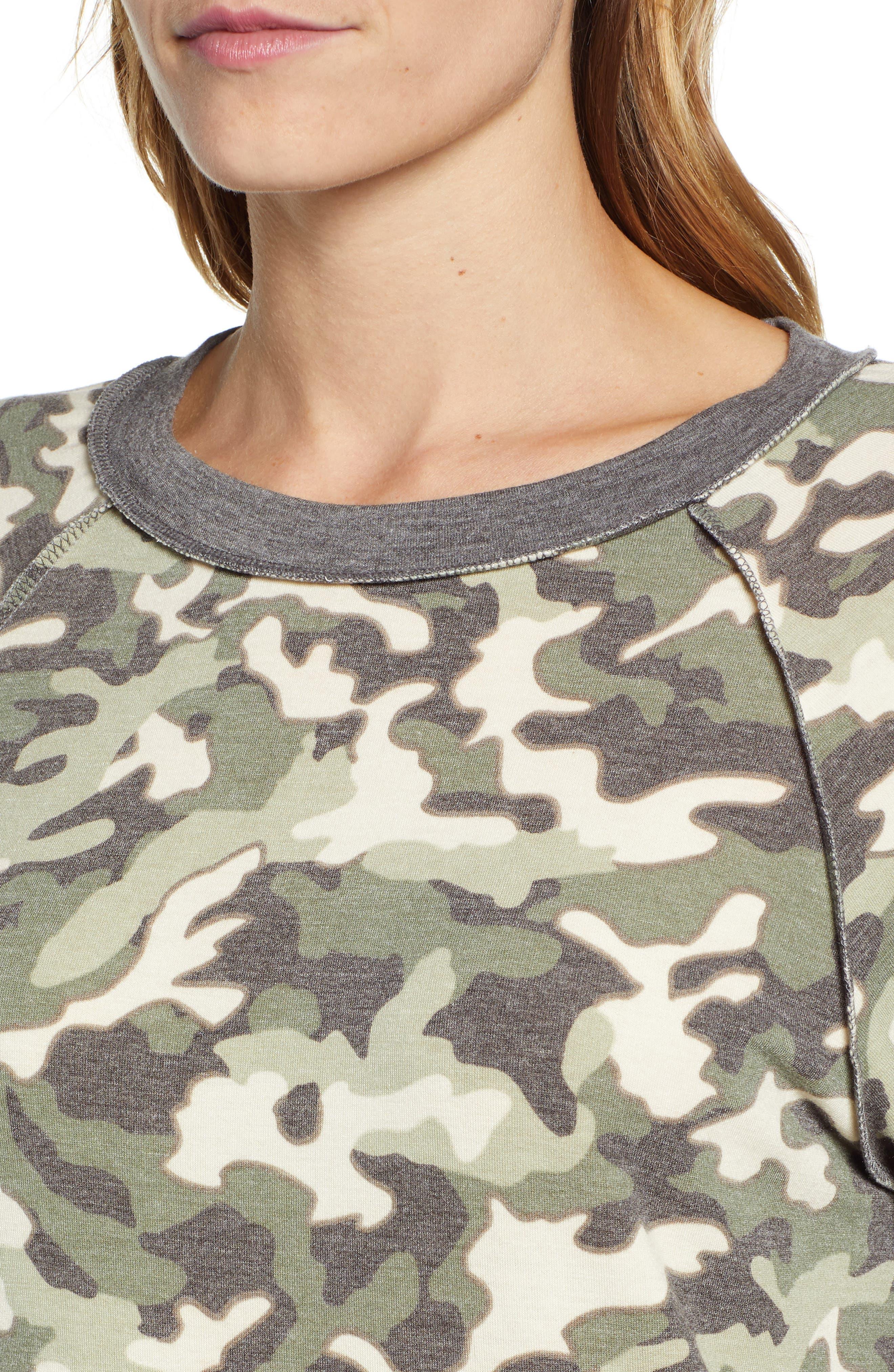 Floral Print Sweatshirt,                             Alternate thumbnail 4, color,                             300