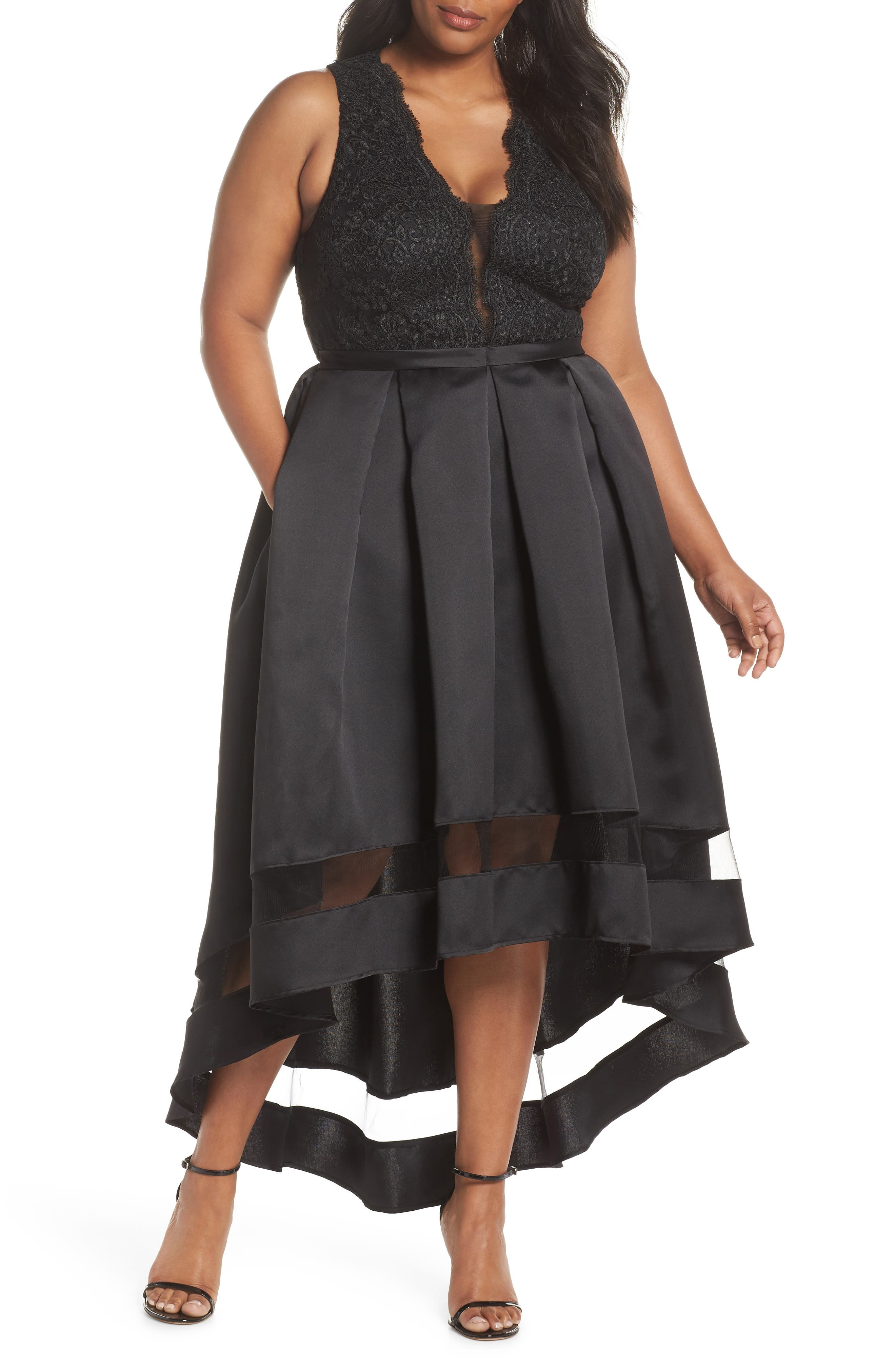 Lace & Pleated High/Low Gown,                             Main thumbnail 1, color,                             BLACK