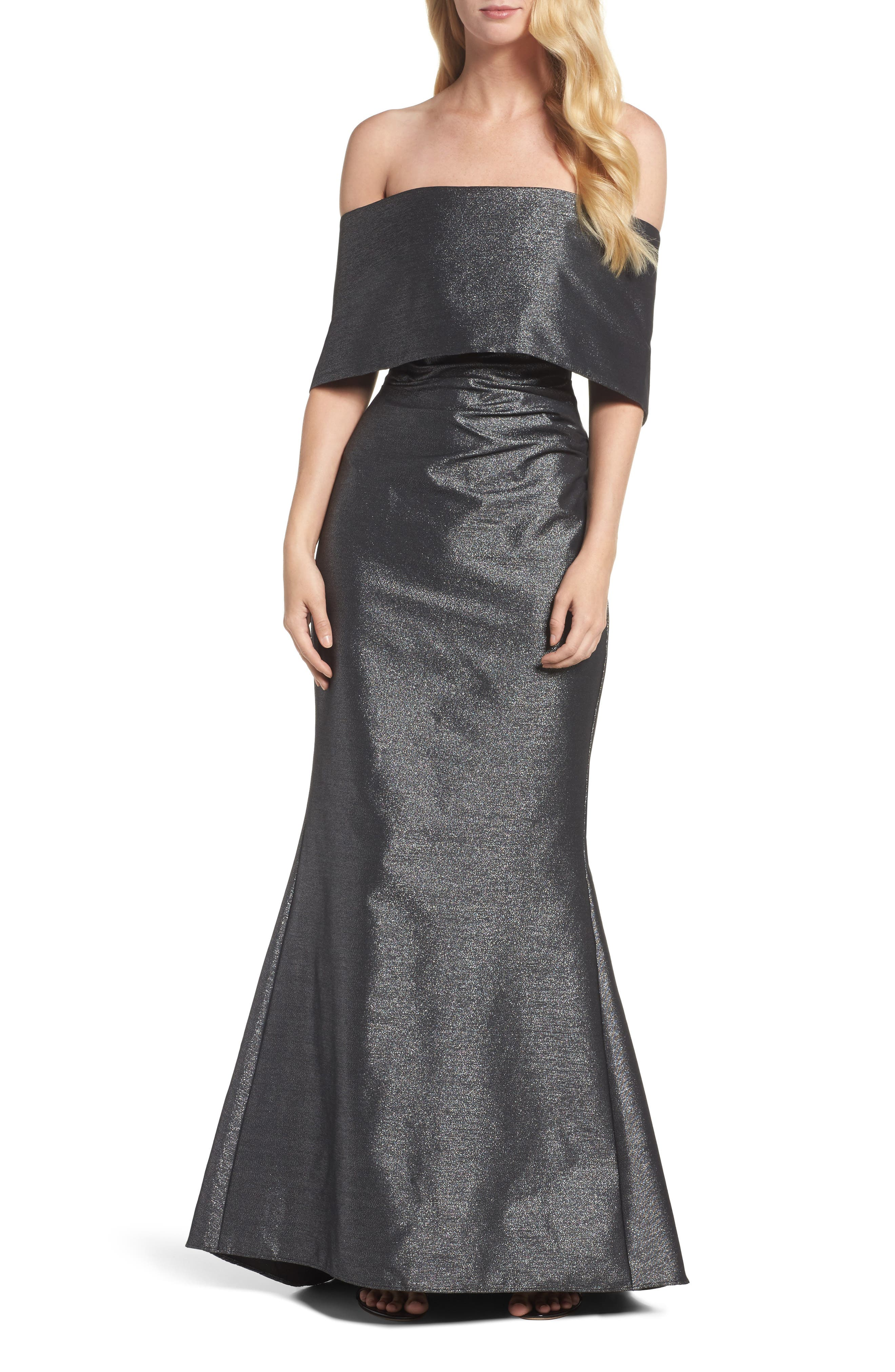 Ruched Metallic Knit Off the Shoulder Gown,                         Main,                         color, 040