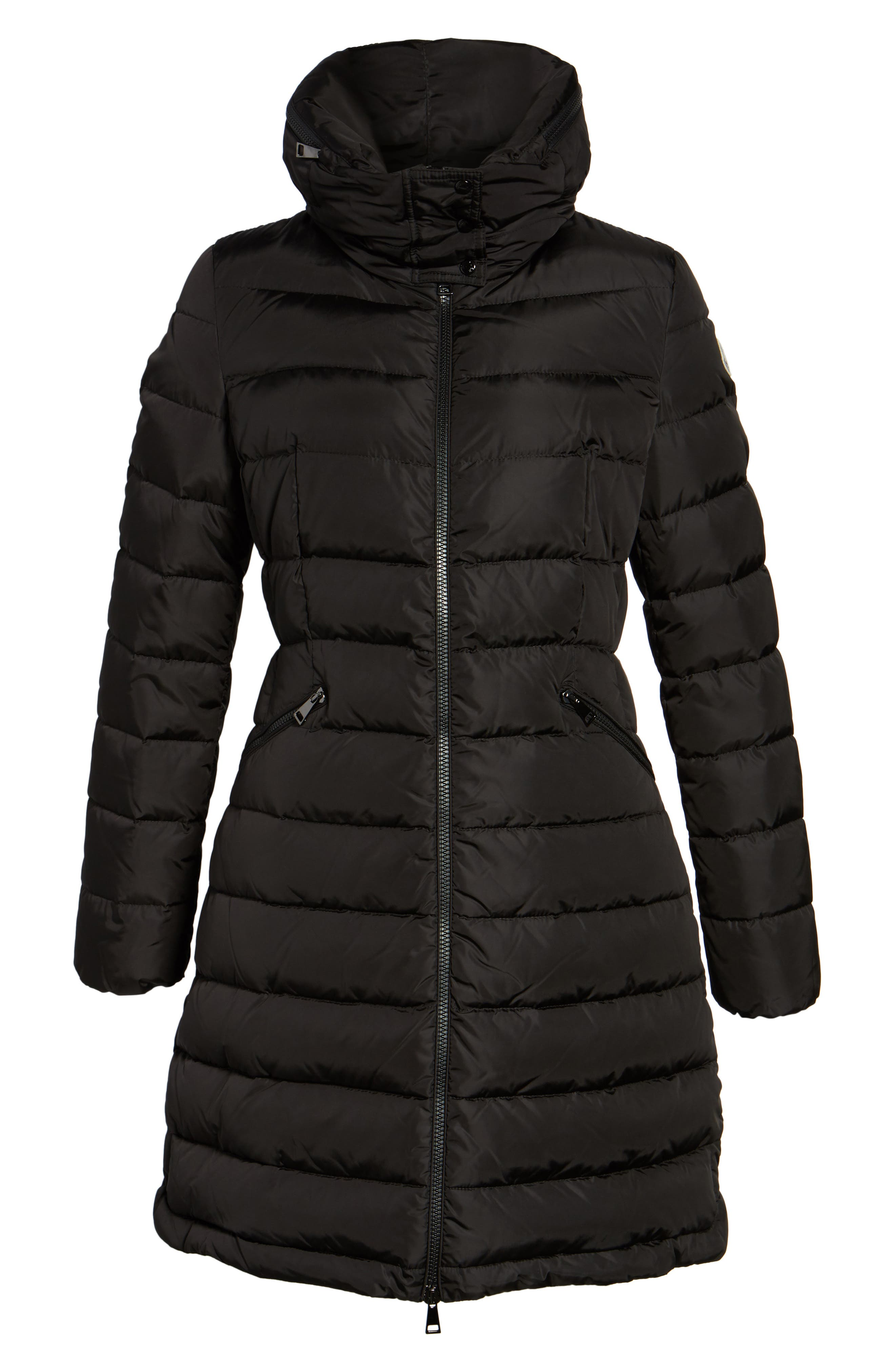 MONCLER,                             'Flammette' Water Resistant Long Hooded Down Coat,                             Alternate thumbnail 5, color,                             BLACK