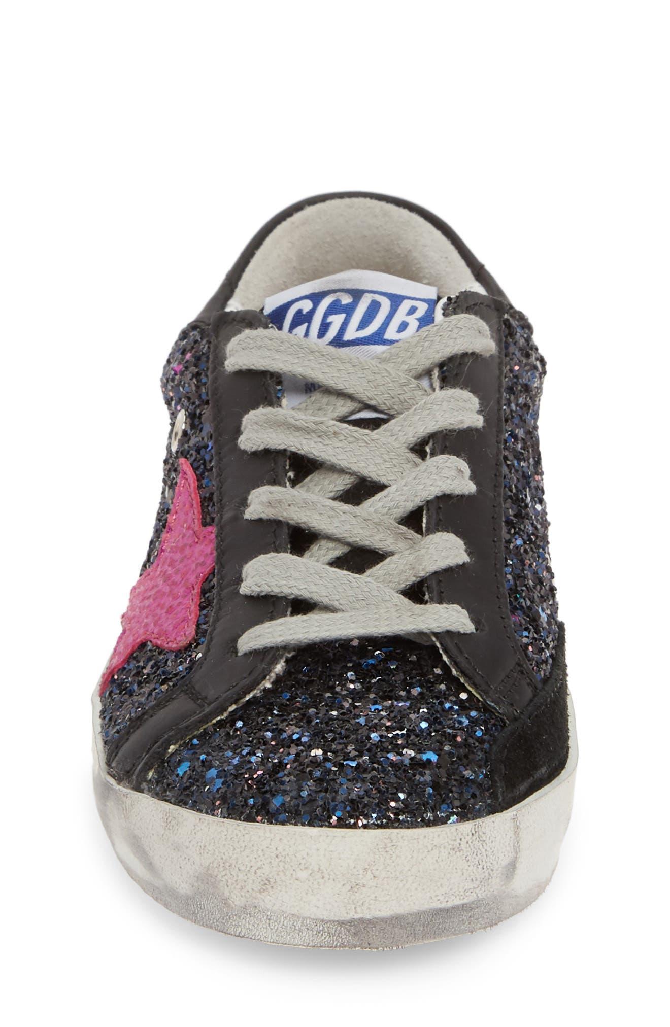 GOLDEN GOOSE,                             Superstar Glitter Low Top Sneaker,                             Alternate thumbnail 4, color,                             GALAXY GLITTER/ FUCHSIA STAR