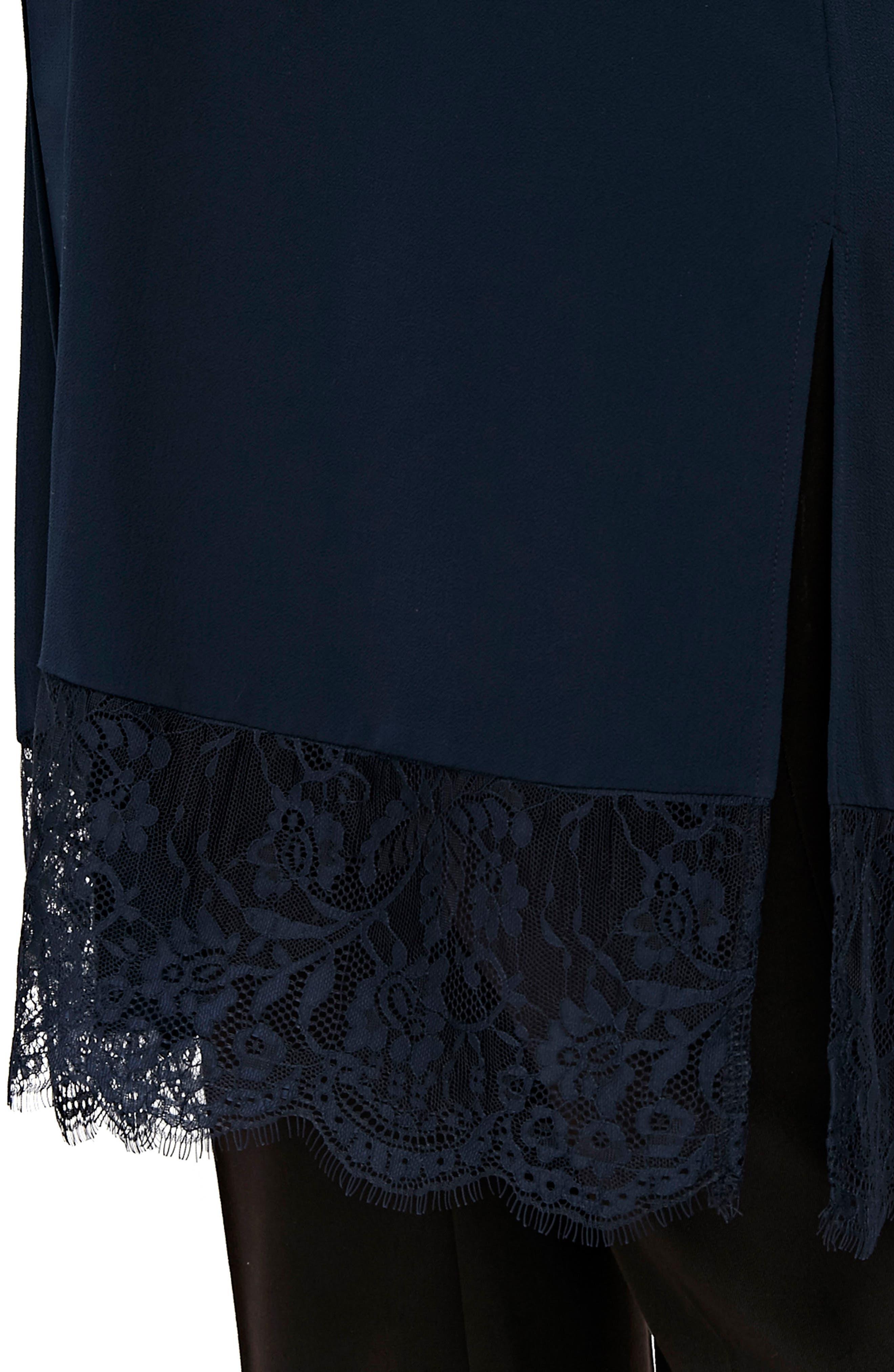 Lace Trim Kimono Jacket,                             Alternate thumbnail 4, color,                             NAVY