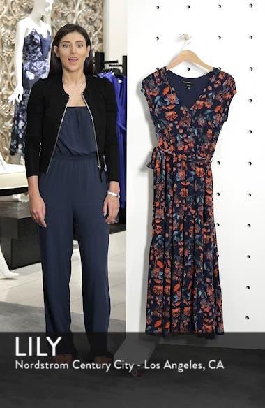 Smock Shoulder Floral Crepe Midi Dress, sales video thumbnail