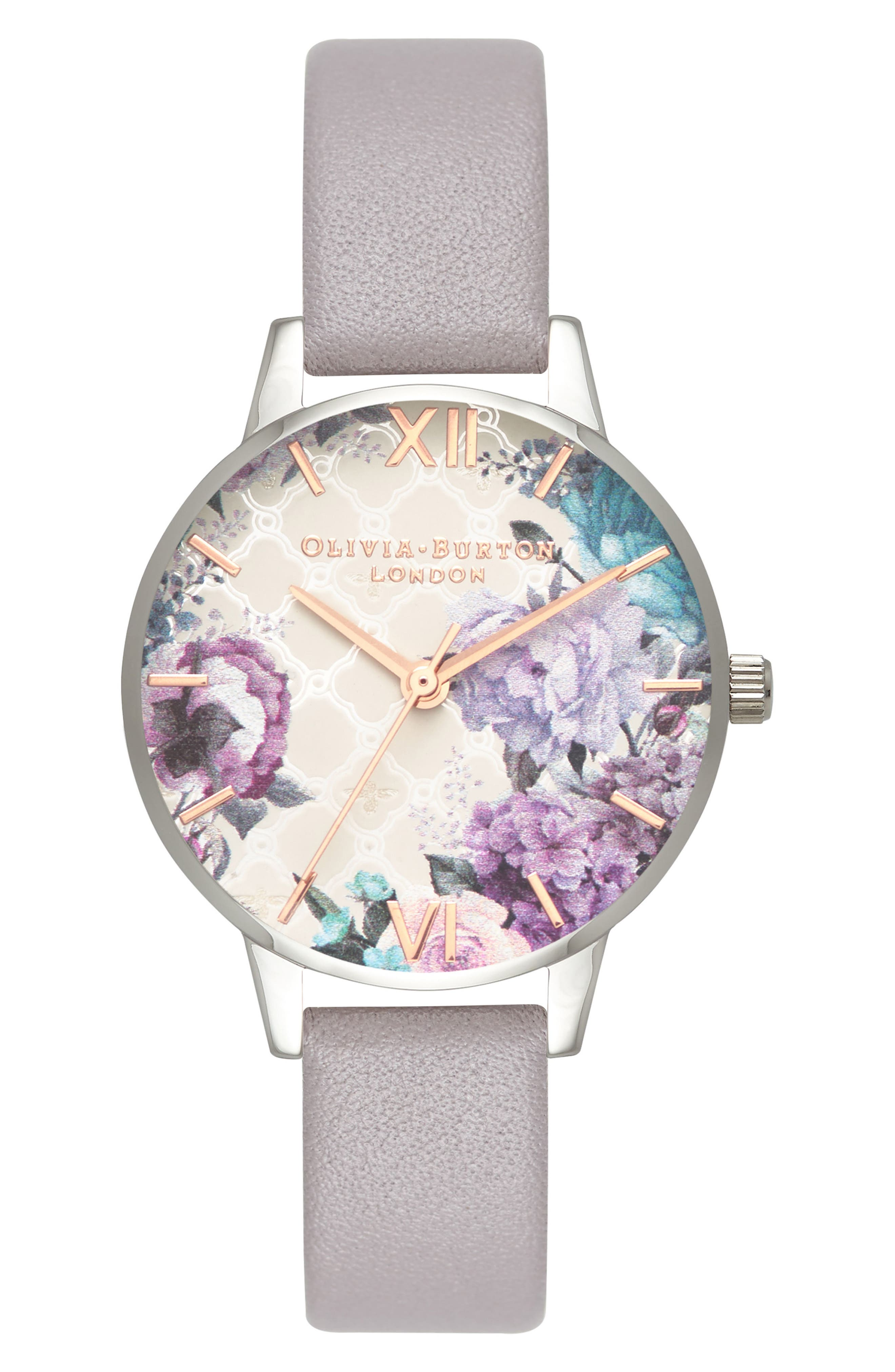 Glasshouse Leather Strap Watch, 30mm,                         Main,                         color, GREY/ FLORAL/ SILVER
