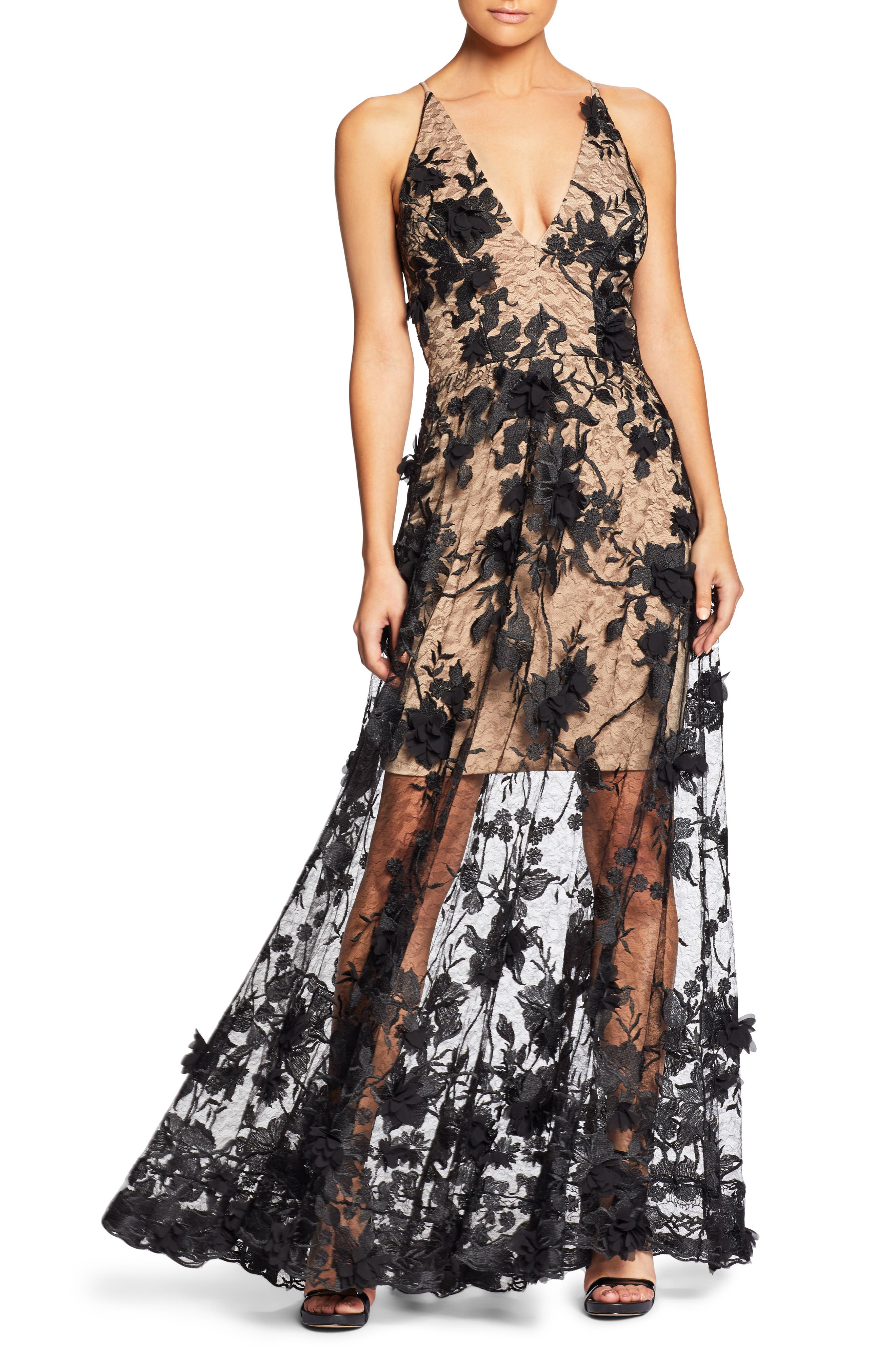 Sidney Deep V-Neck 3D Lace Gown,                         Main,                         color,