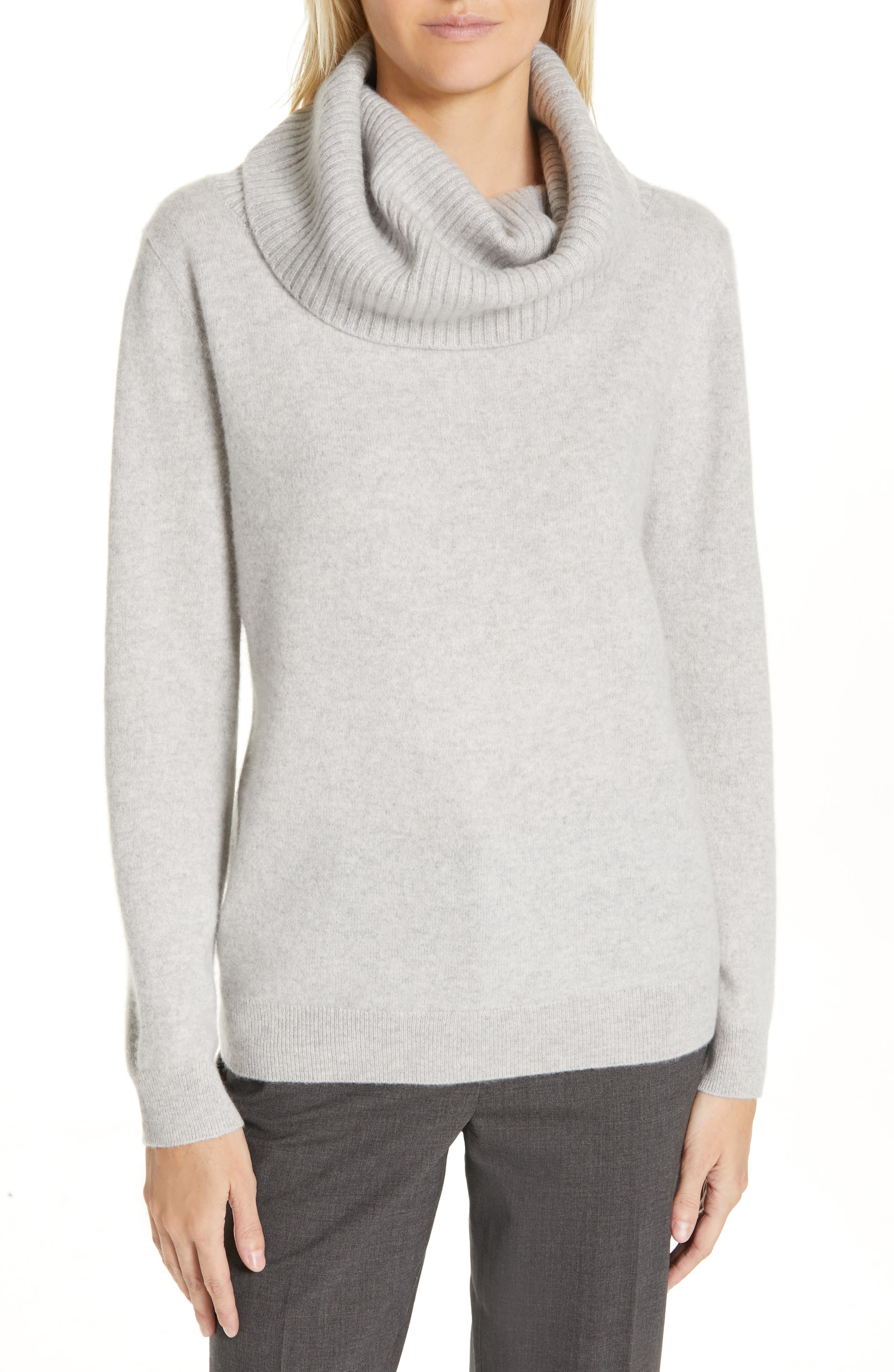 Boiled Cashmere Cowl Neck Sweater,                             Main thumbnail 1, color,                             GREY CLAY HEATHER