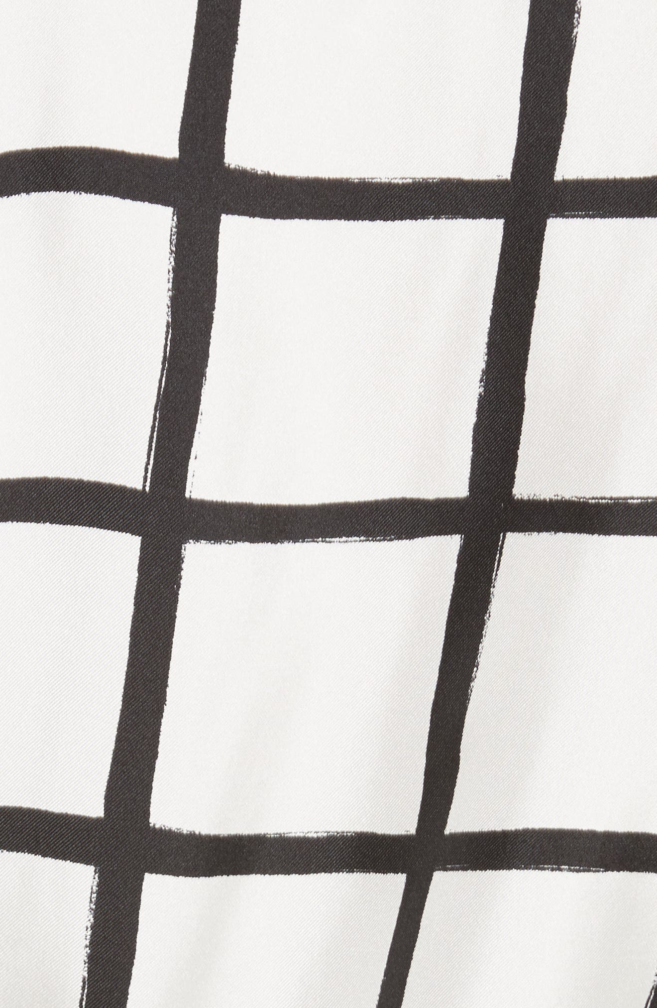 Diane von Furstenberg Windowpane Plaid Button Down Silk Shirt,                             Alternate thumbnail 5, color,                             178