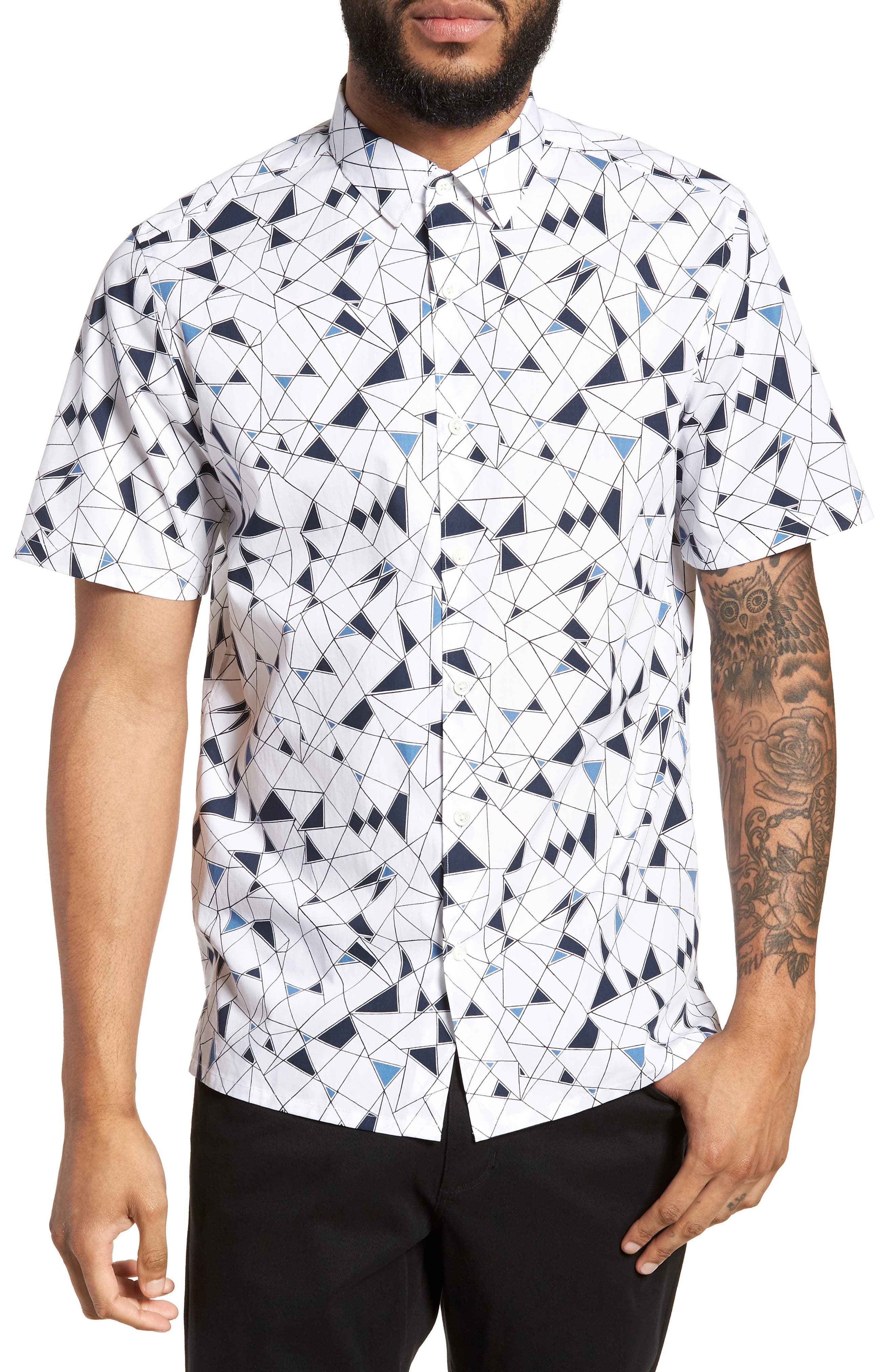 Murrary Trim Fit Geometric Short Sleeve Sport Shirt,                             Main thumbnail 1, color,                             424