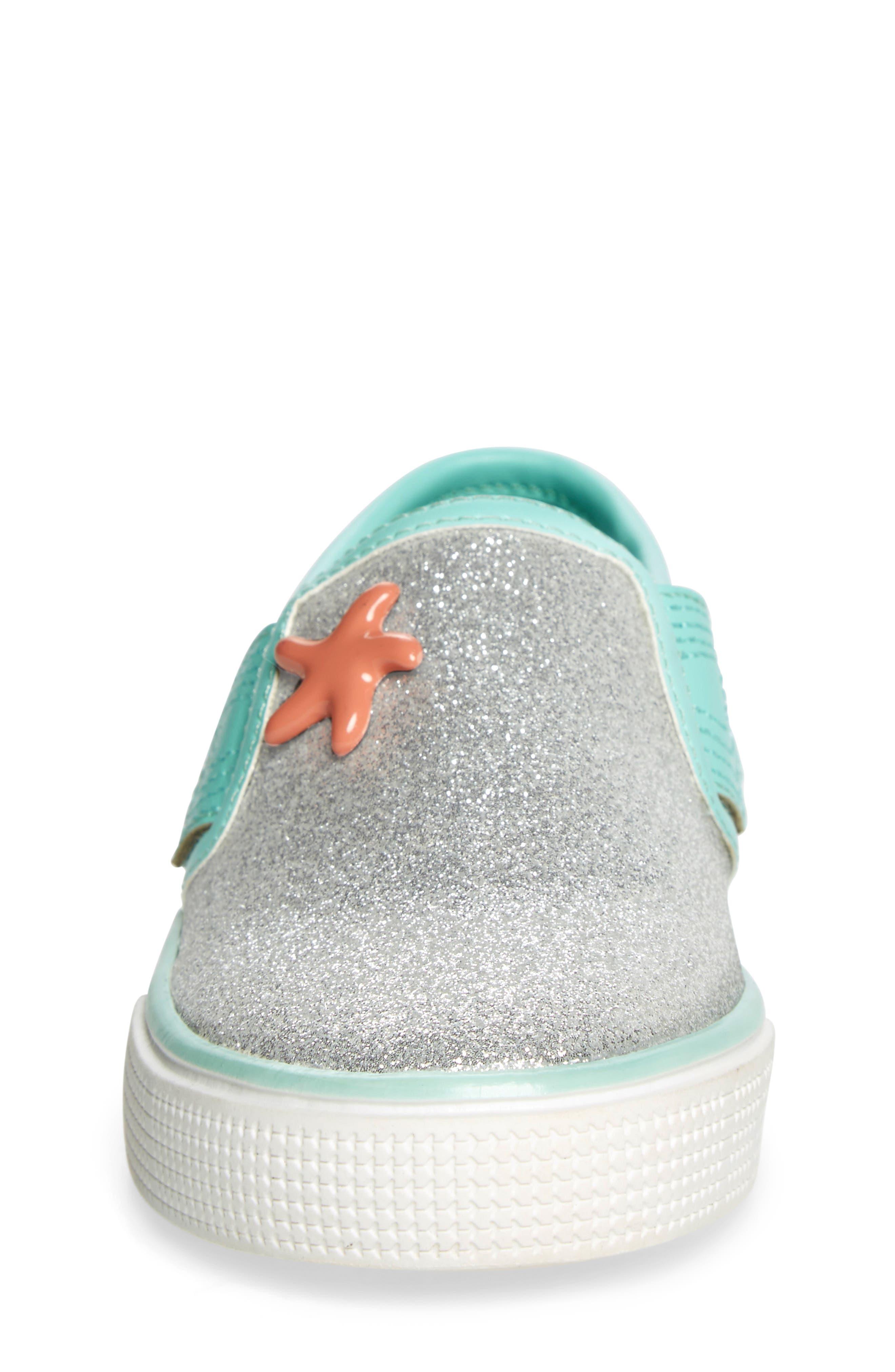 Camille Glitter Slip-On Sneaker,                             Alternate thumbnail 4, color,                             040