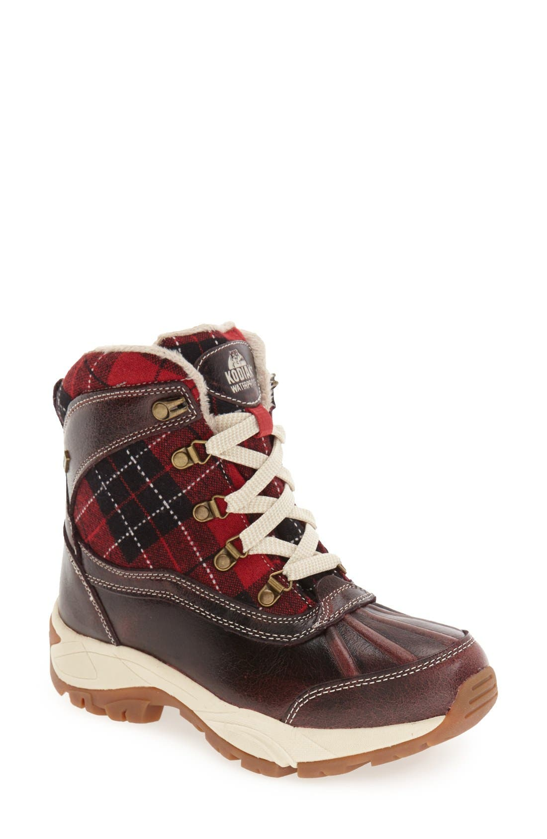 Rochelle Waterproof Insulated Winter Boot,                             Main thumbnail 1, color,                             RED PLAID LEATHER