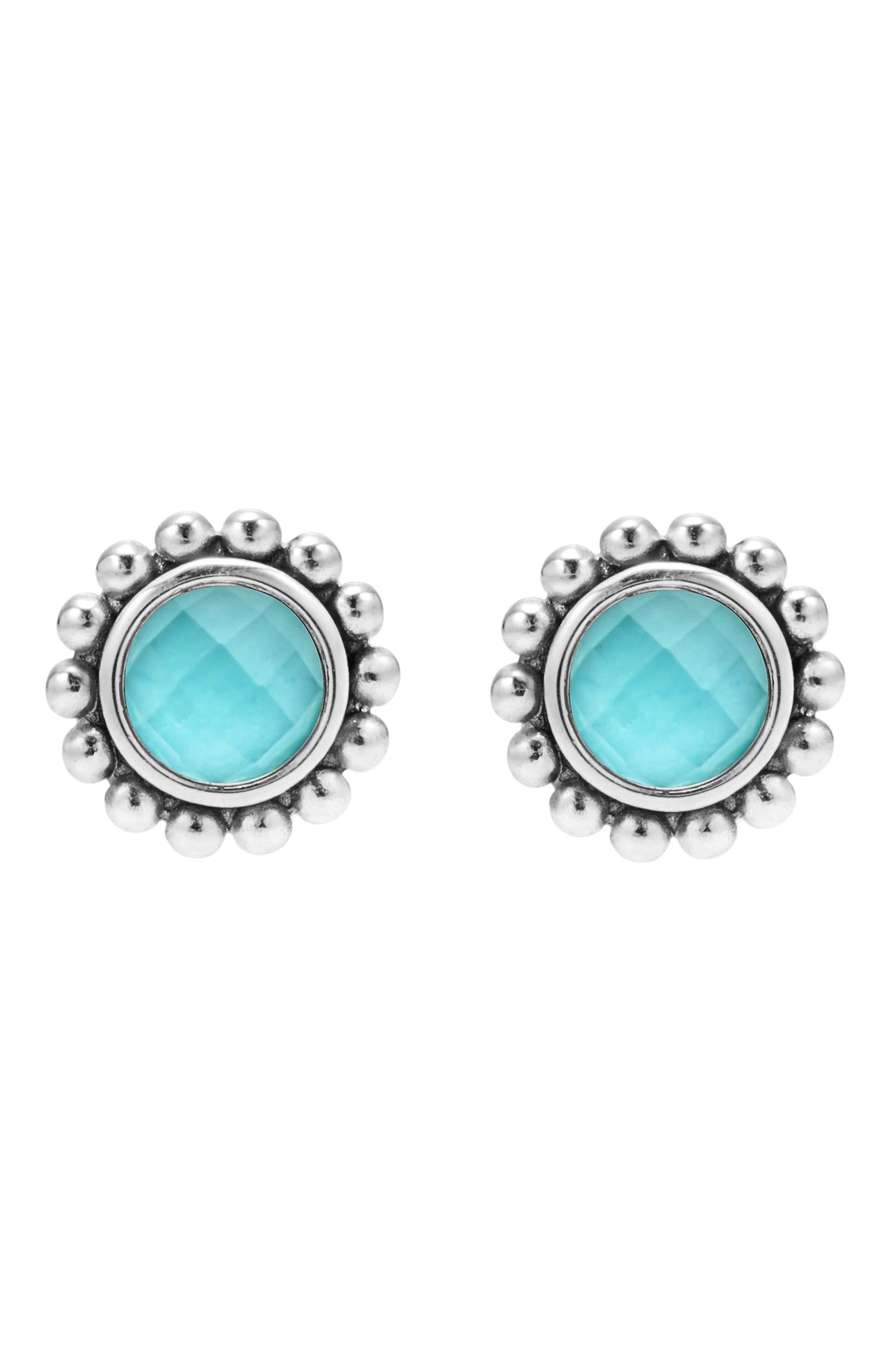 Maya Doublet Stud Earrings,                             Alternate thumbnail 3, color,                             TURQUOISE