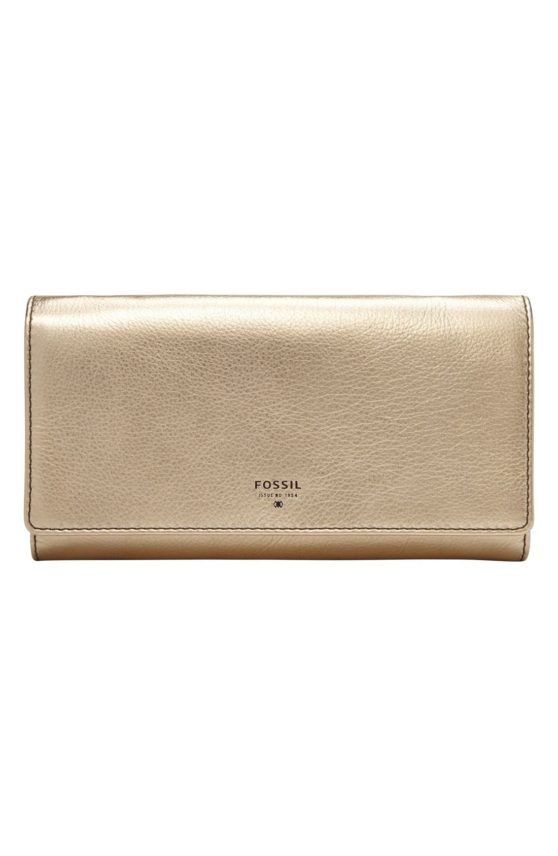 FOSSIL 'Sydney' Metallic Leather Flap Wallet, Main, color, 711