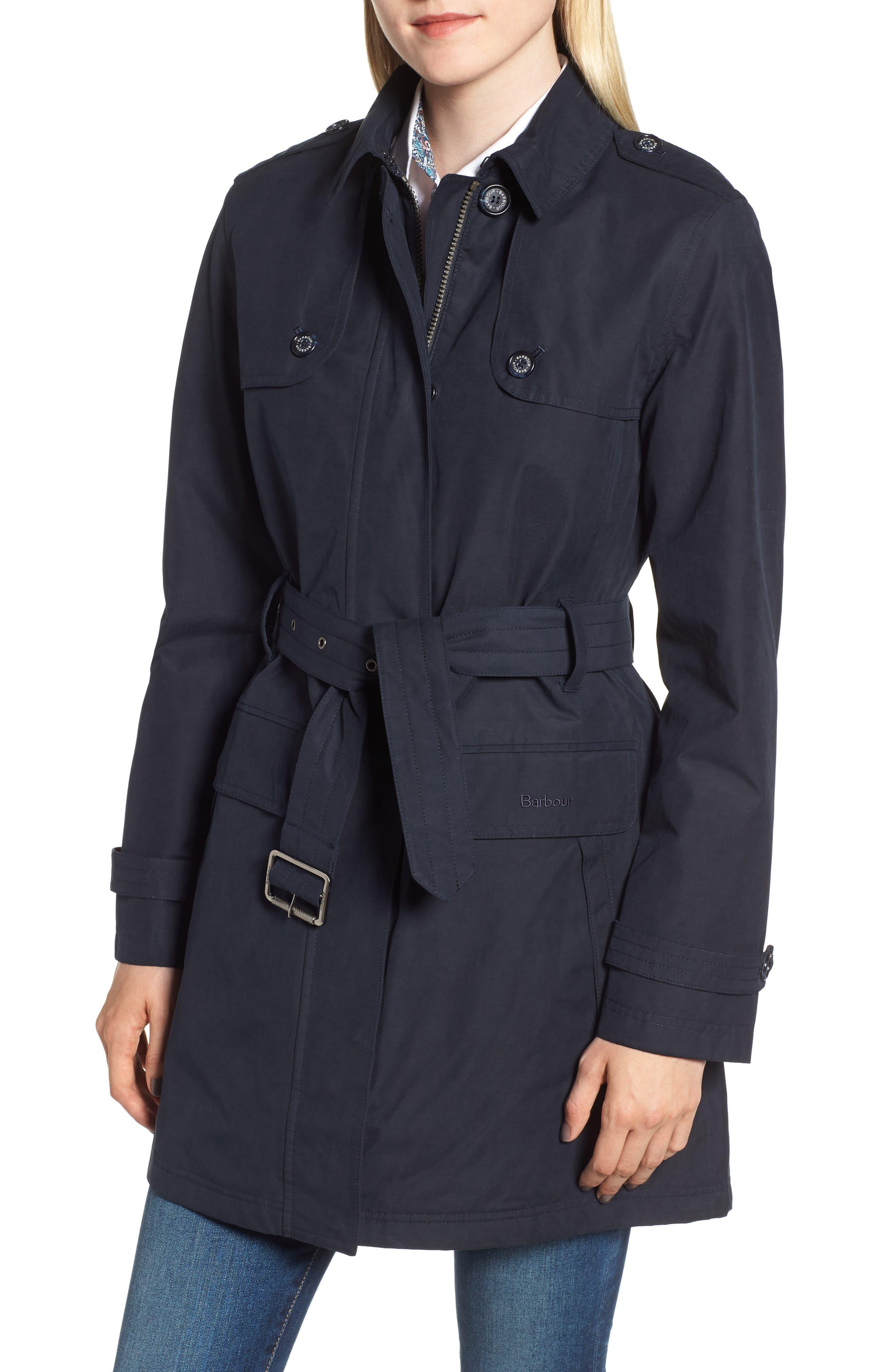 Barbour Tobermory Waterproof Belted Jacket, US / 8 UK - Blue