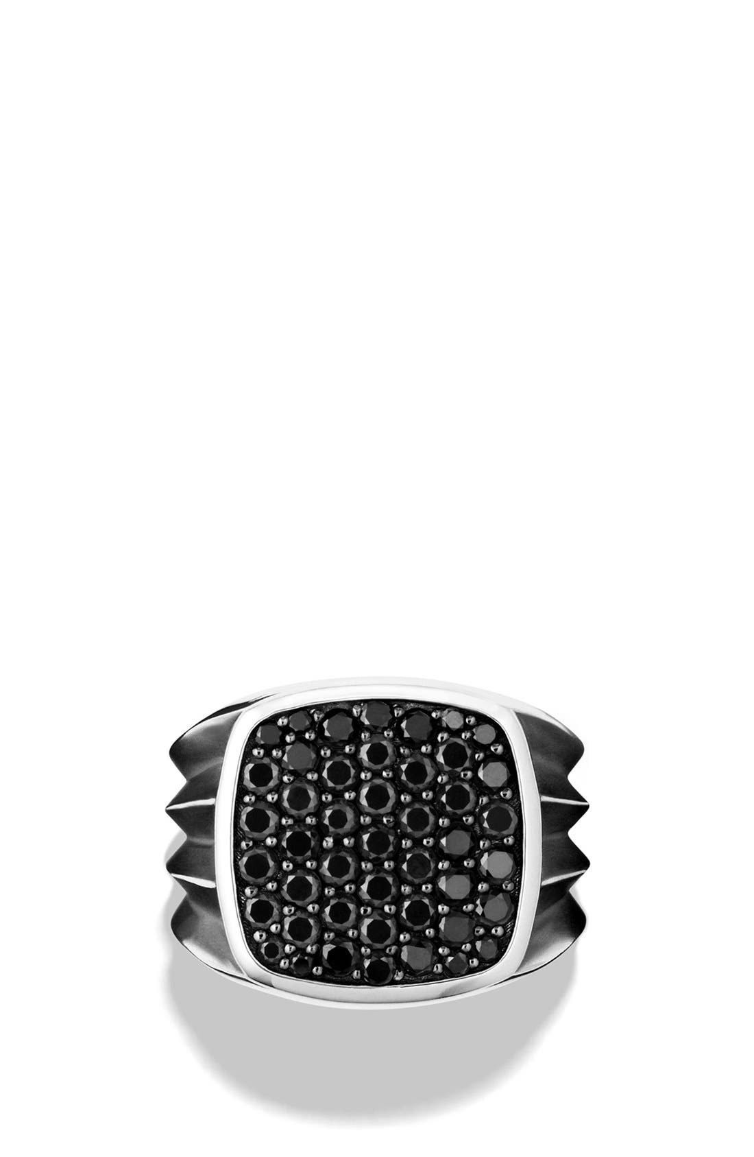 'Knife Edge' Signet Ring with Black Diamonds,                             Alternate thumbnail 3, color,
